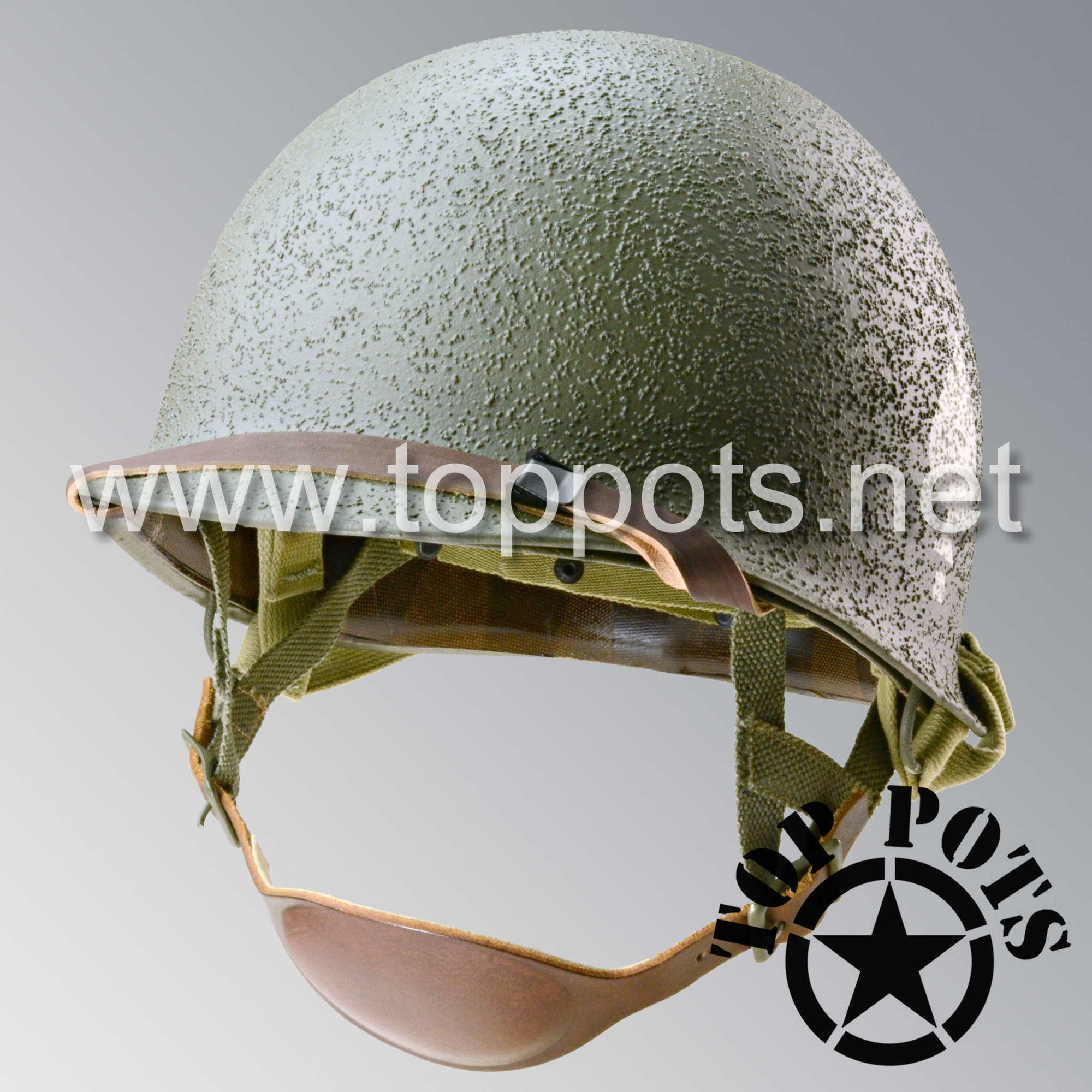 Image 1 of WWII US Army Restored Original M1C Paratrooper Airborne Helmet Swivel Bale Shell and Liner with 506th 2nd Battalion PIR NCO Emblem