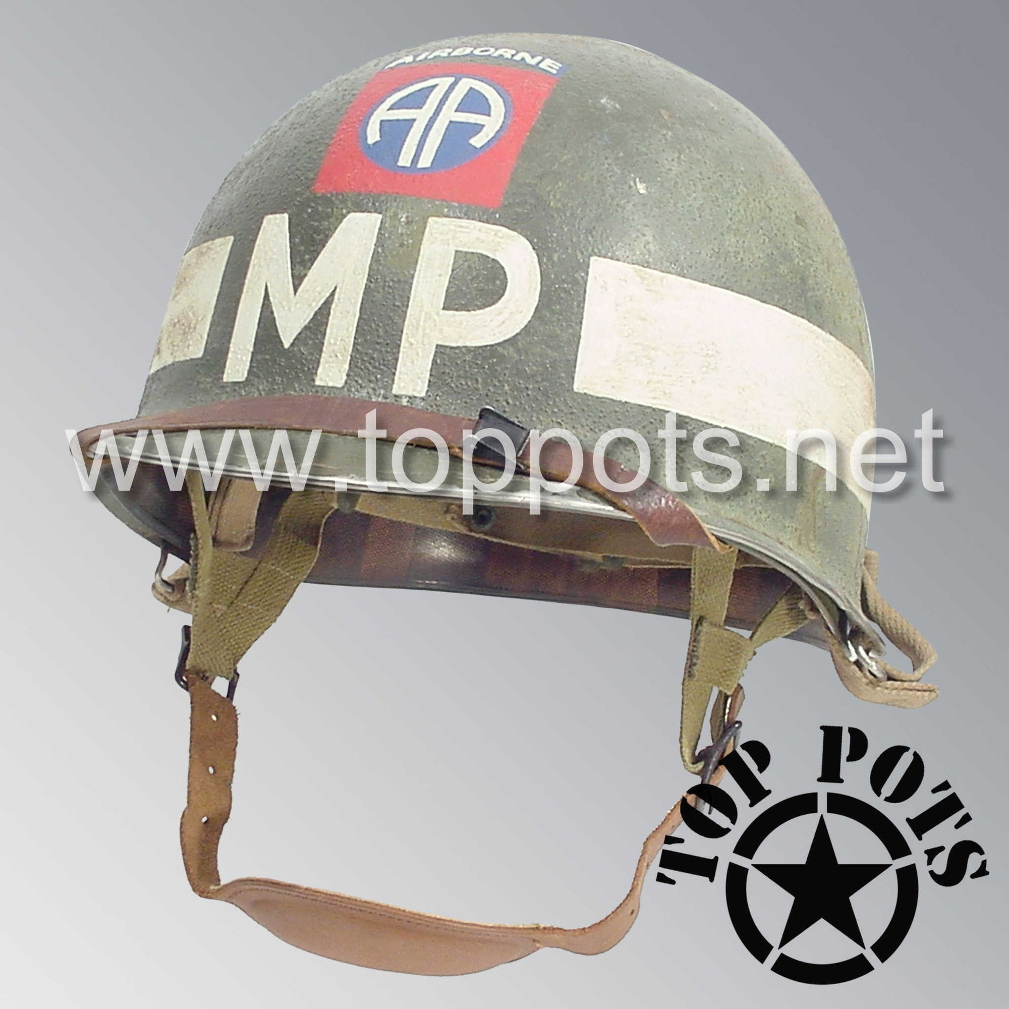 Image 1 of WWII US Army Aged Original M1C Paratrooper Airborne Helmet Swivel Bale Shell and Liner with 82nd Airborne Military Police Batallion MP Emblem