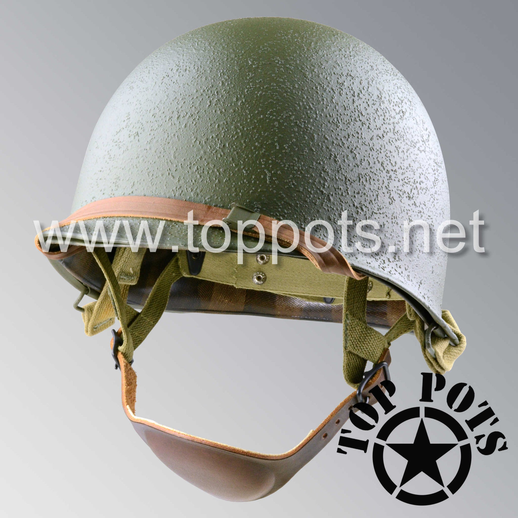 Image 1 of WWII US Army Restored Original M1C Paratrooper Airborne Helmet Swivel Bale Shell and Liner with Inland A Straps