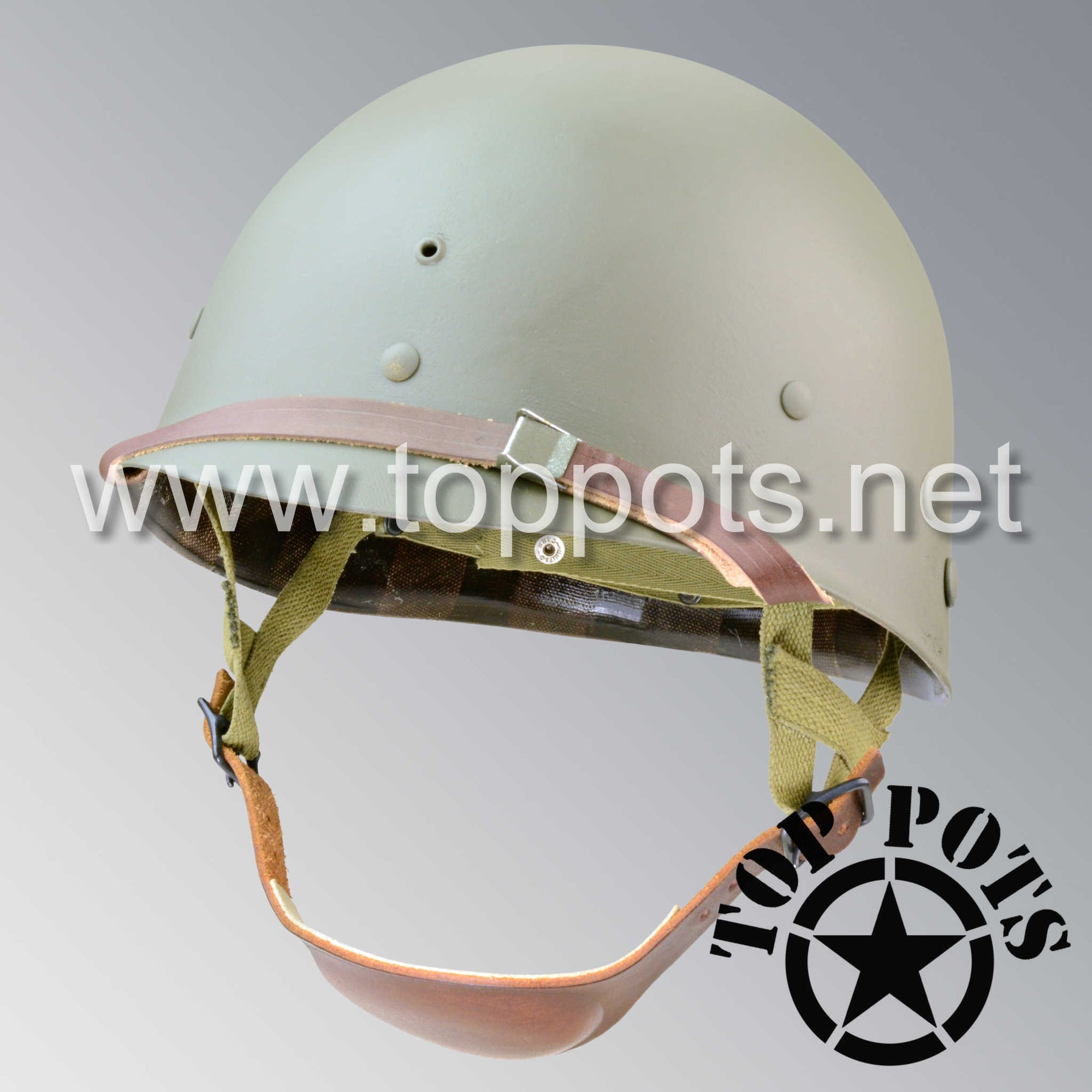 Image 1 of WWII US Army Restored Original M1C Paratrooper Airborne Helmet Liner with Inland A Straps