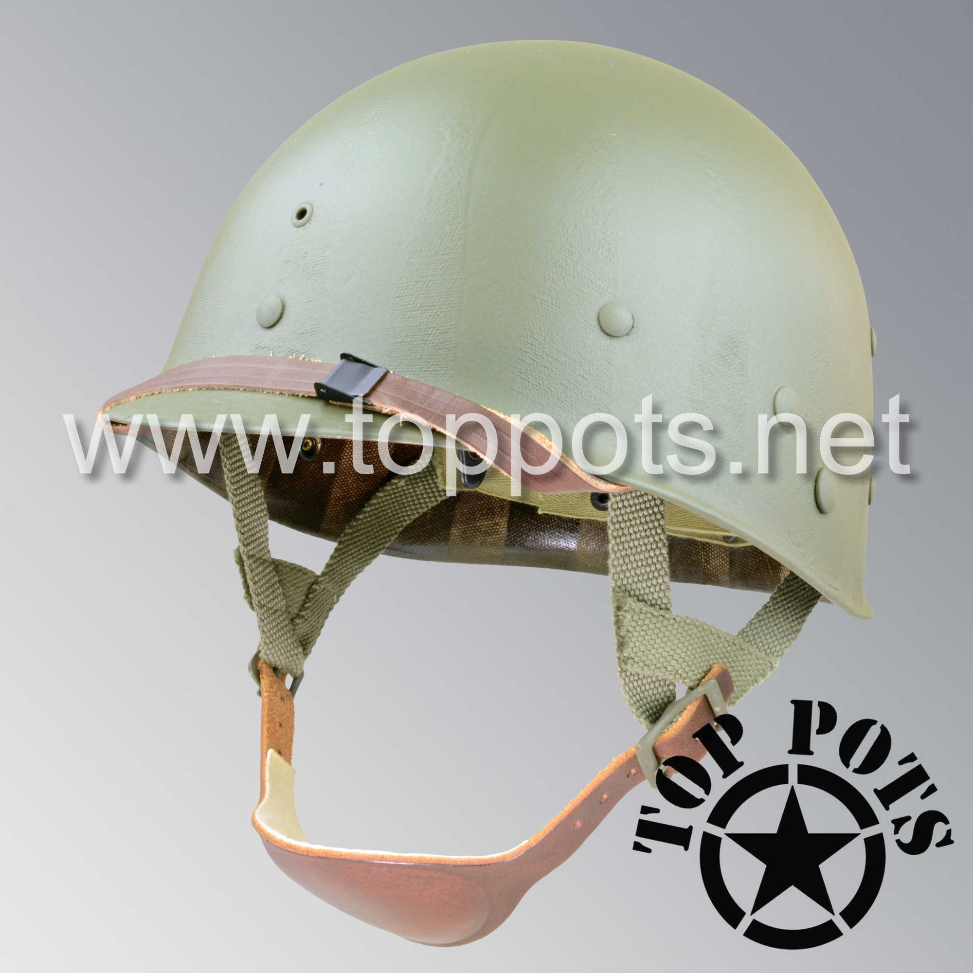 Image 1 of WWII US Army Restored Original M1C Paratrooper Airborne Helmet Liner with Westinghouse A Straps