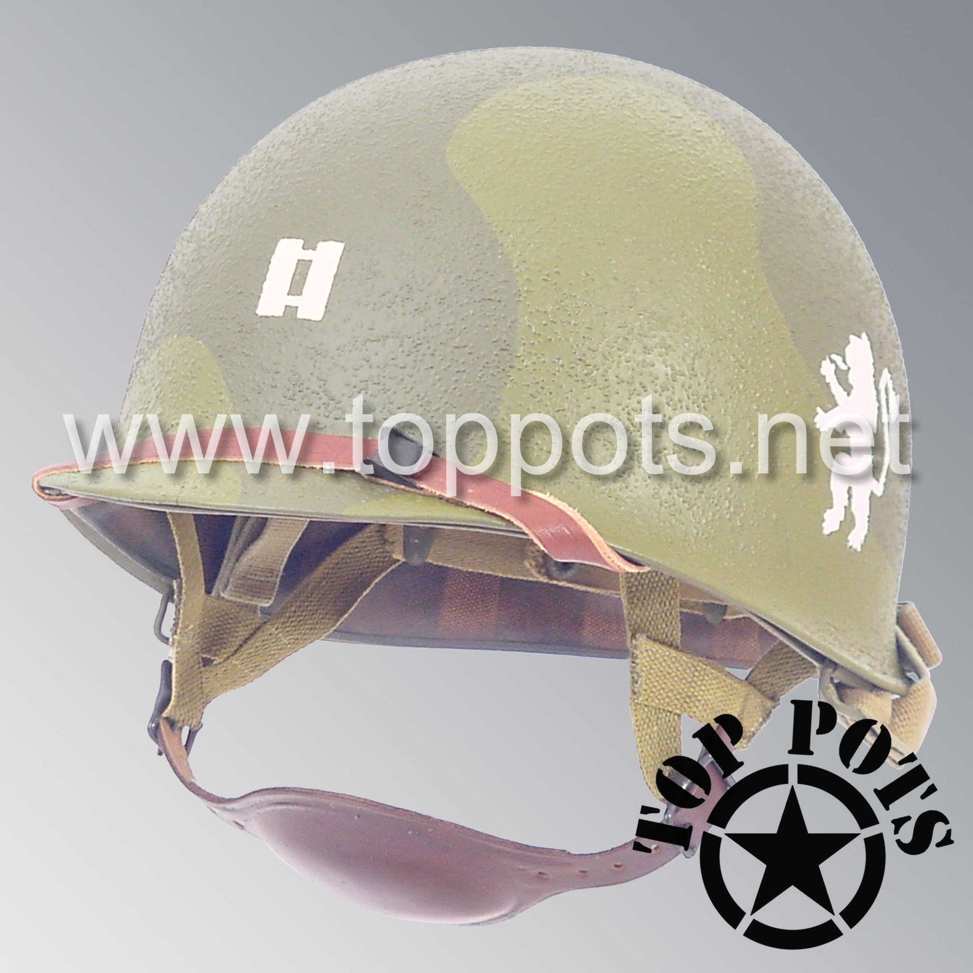 Image 1 of WWII US Army Restored Original M1C Paratrooper Airborne Helmet Swivel Bale Shell and Liner with 505th PIR Officer Pathfinder Camouflage Emblem