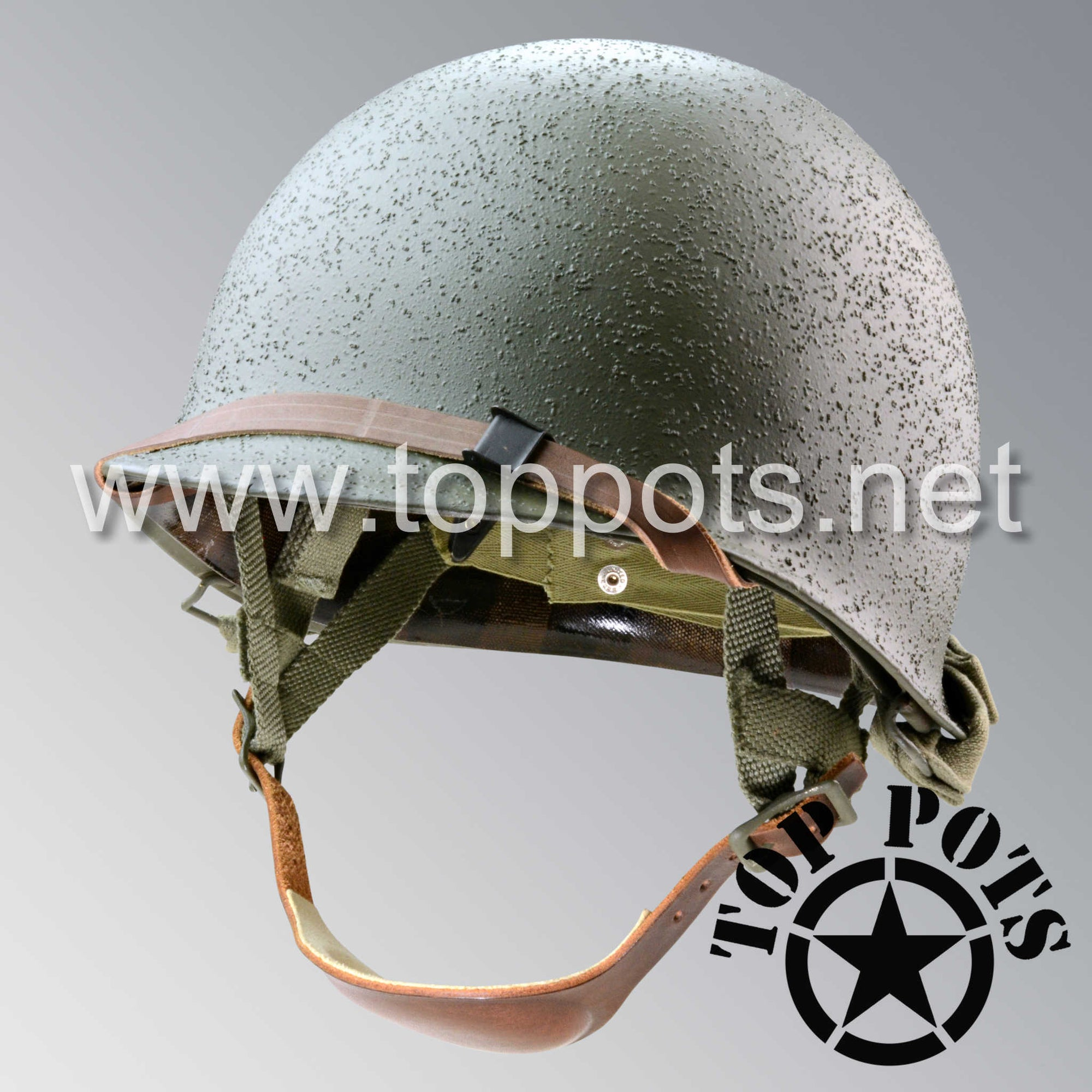 Image 1 of WWII US Army Restored Original M1C Paratrooper Airborne Helmet Swivel Bale Shell and Liner with Westinghouse A Straps