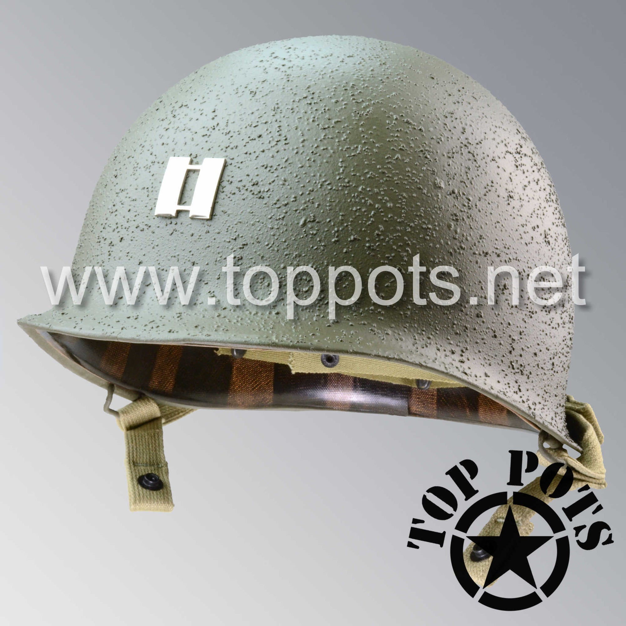 Image 1 of WWII US Army Restored Original M1C Airborne Paratrooper Helmet Swivel Bale Shell with Metal Captain Rank and Chinstraps