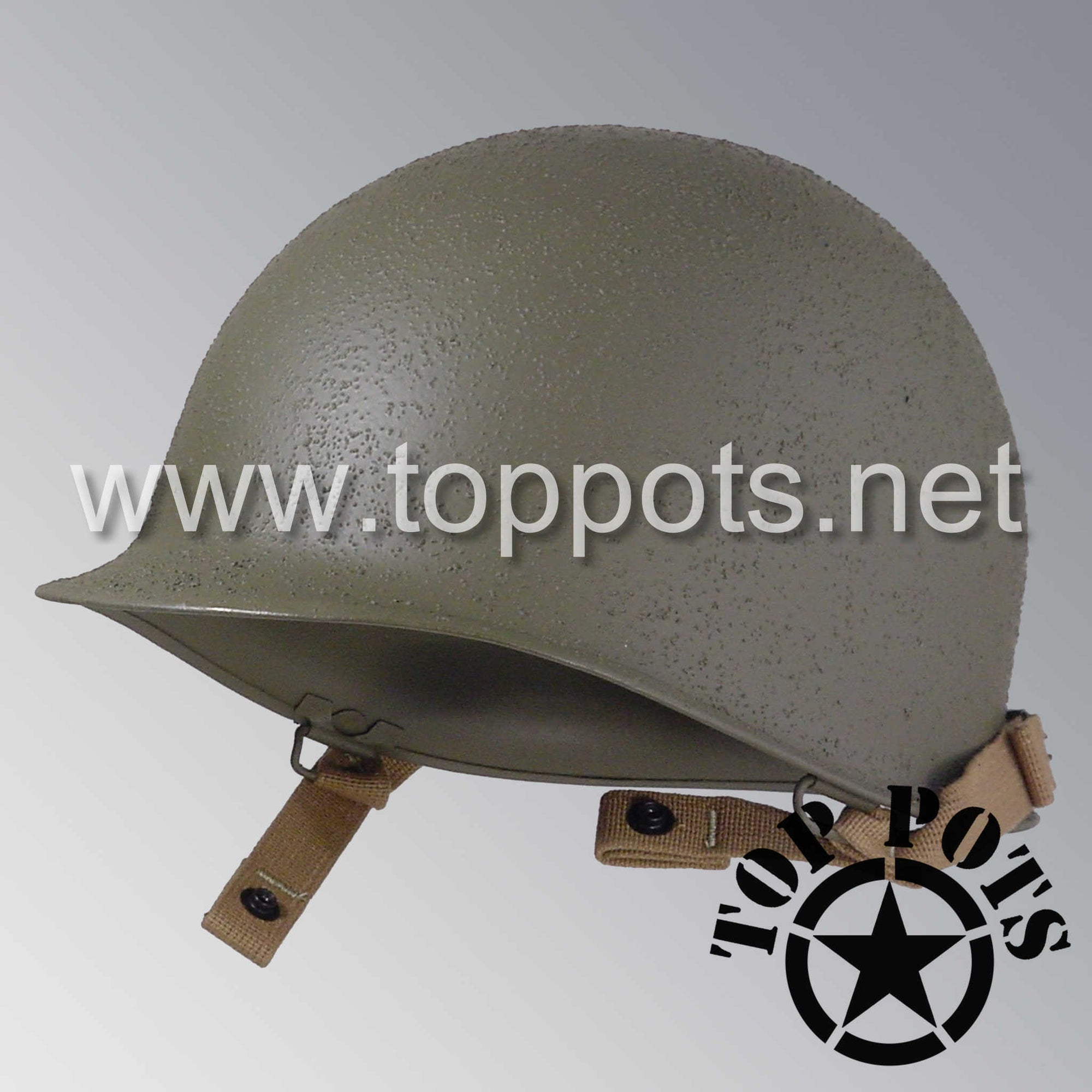 Image 1 of WWII US Army Restored Original M1C Paratrooper Airborne Helmet Swivel Bale Shell and Chinstraps