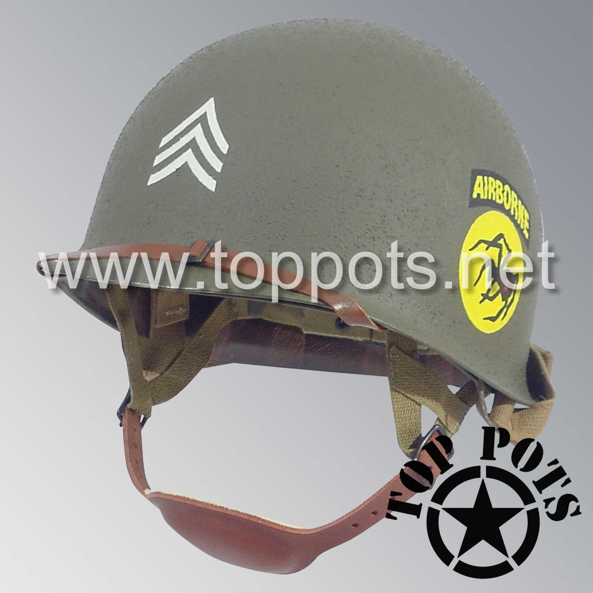 Image 1 of WWII US Army Restored Original M2 Paratrooper Airborne Helmet D Bale Shell and Liner with 135th Airborne Decoy Division NCO Emblem