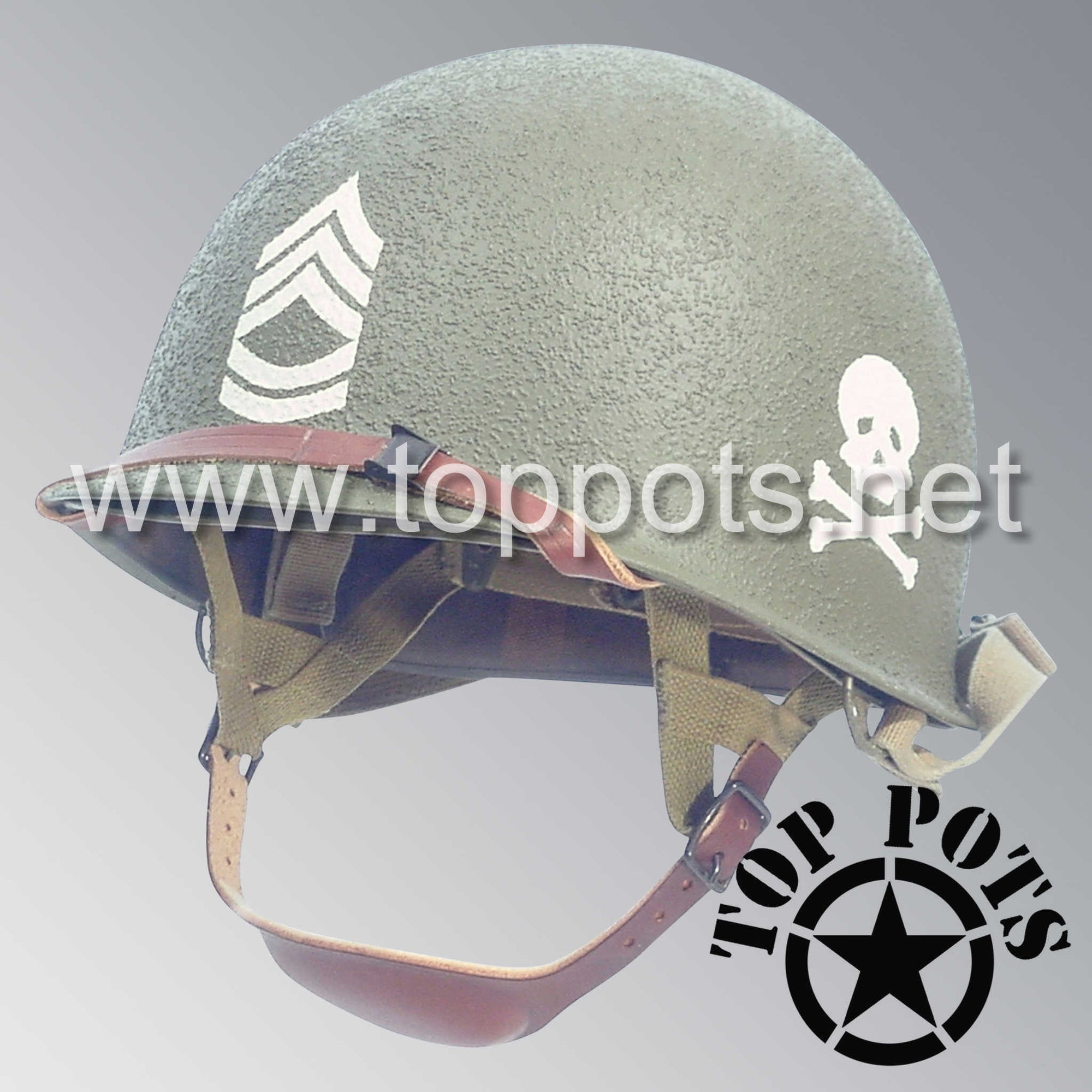 Image 1 of WWII US Army Restored Original M2 Paratrooper Airborne Helmet D Bale Shell and Liner with 504th PIR NCO Emblem