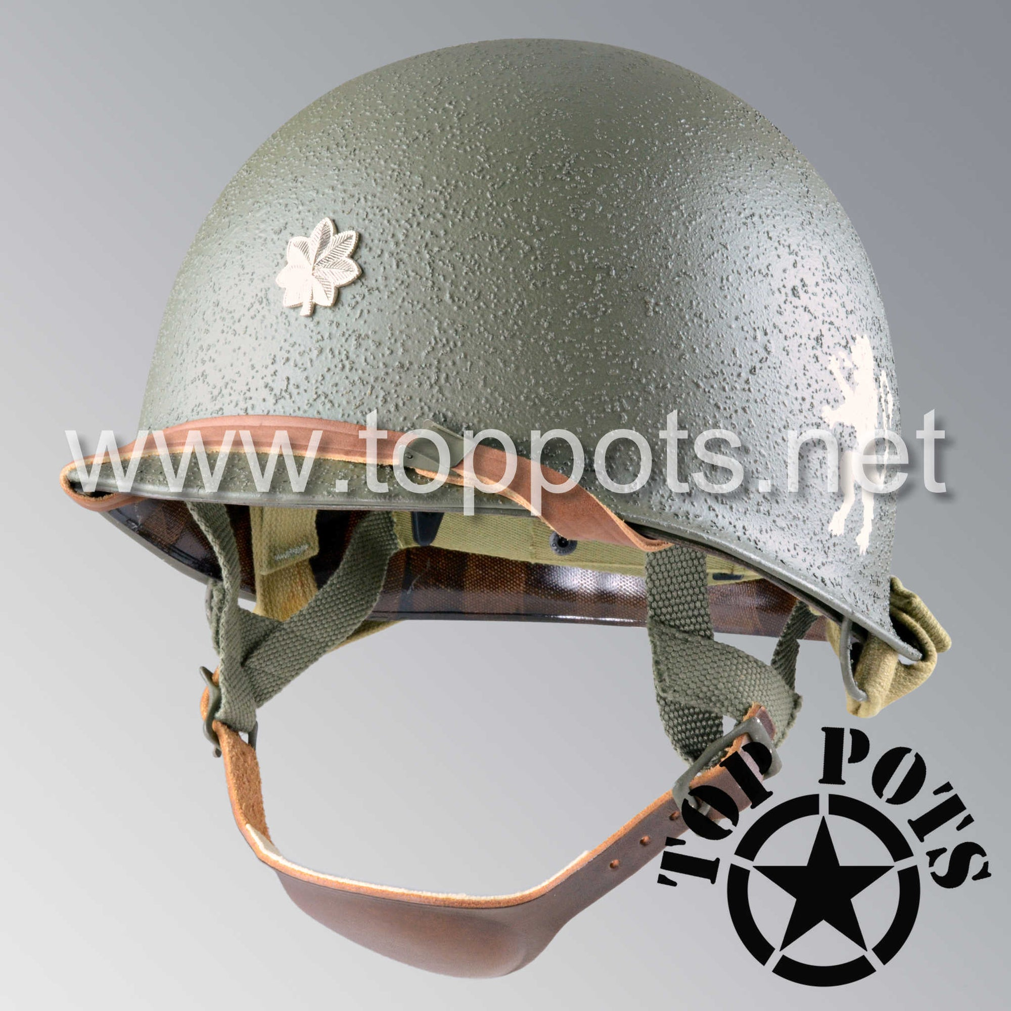Image 1 of WWII US Army Restored Original M2 Paratrooper Airborne Helmet D Bale Shell and Liner with 505th PIR Major Metal Officer Emblem