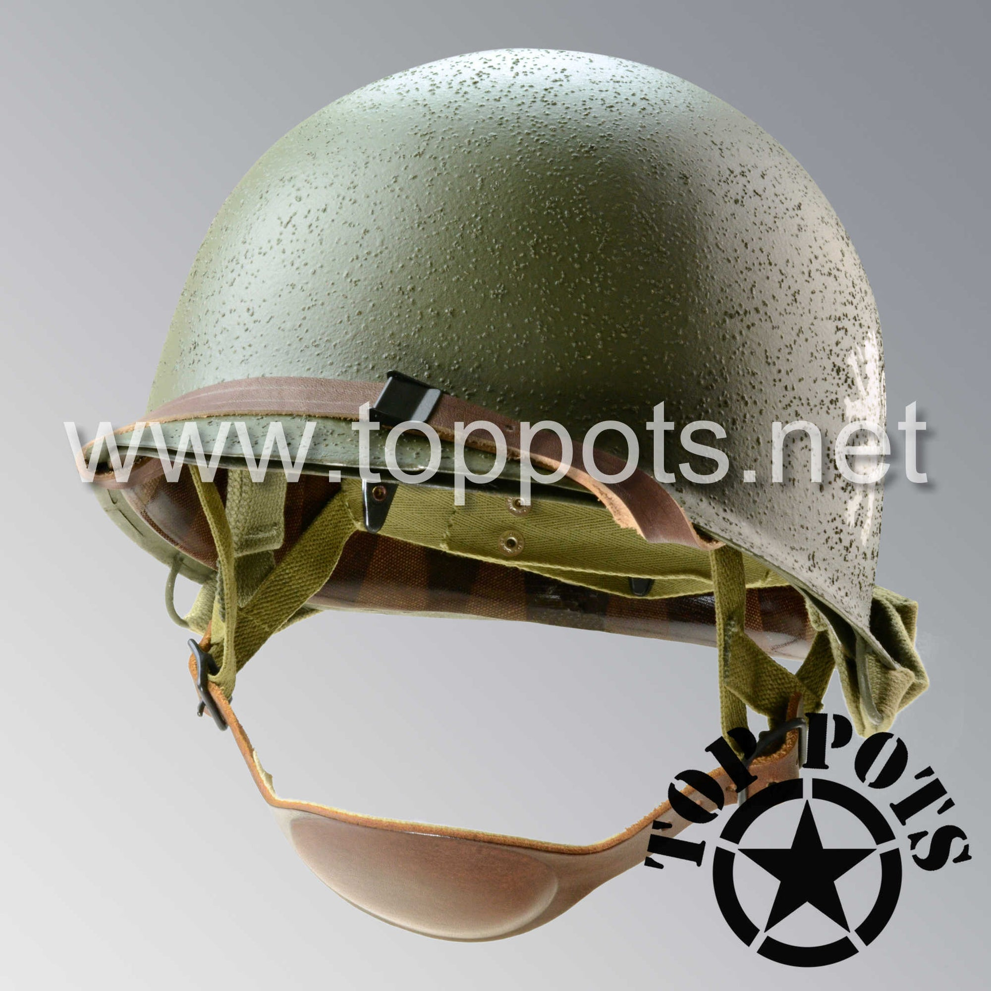 Image 1 of WWII US Army Restored Original M2 Paratrooper Airborne Helmet D Bale Shell and Liner with 505th PIR NCO Emblem