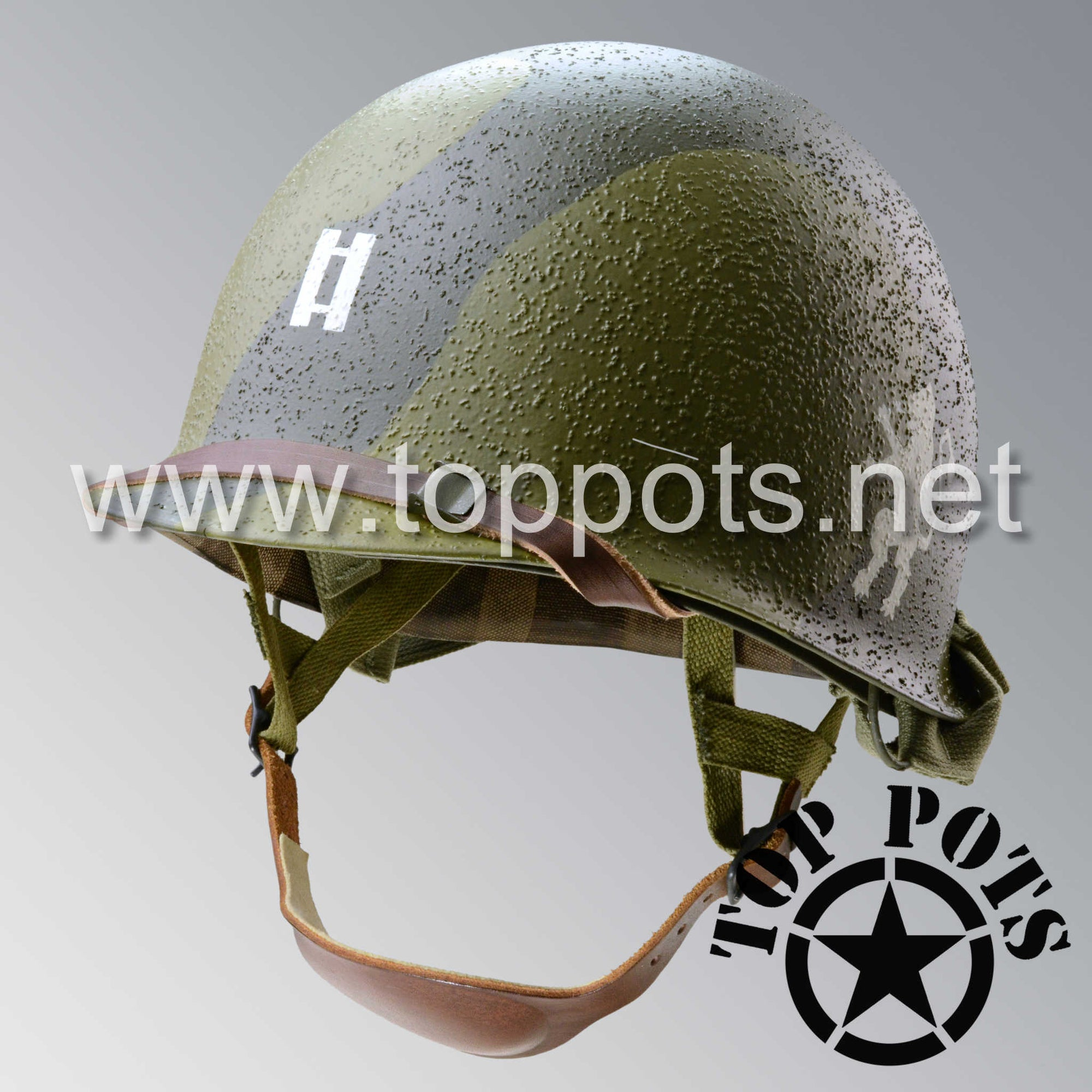 Image 1 of WWII US Army Restored Original M2 Paratrooper Airborne Helmet D Bale Shell and Liner with 505th PIR Officer Pathfinder Camouflage Emblem