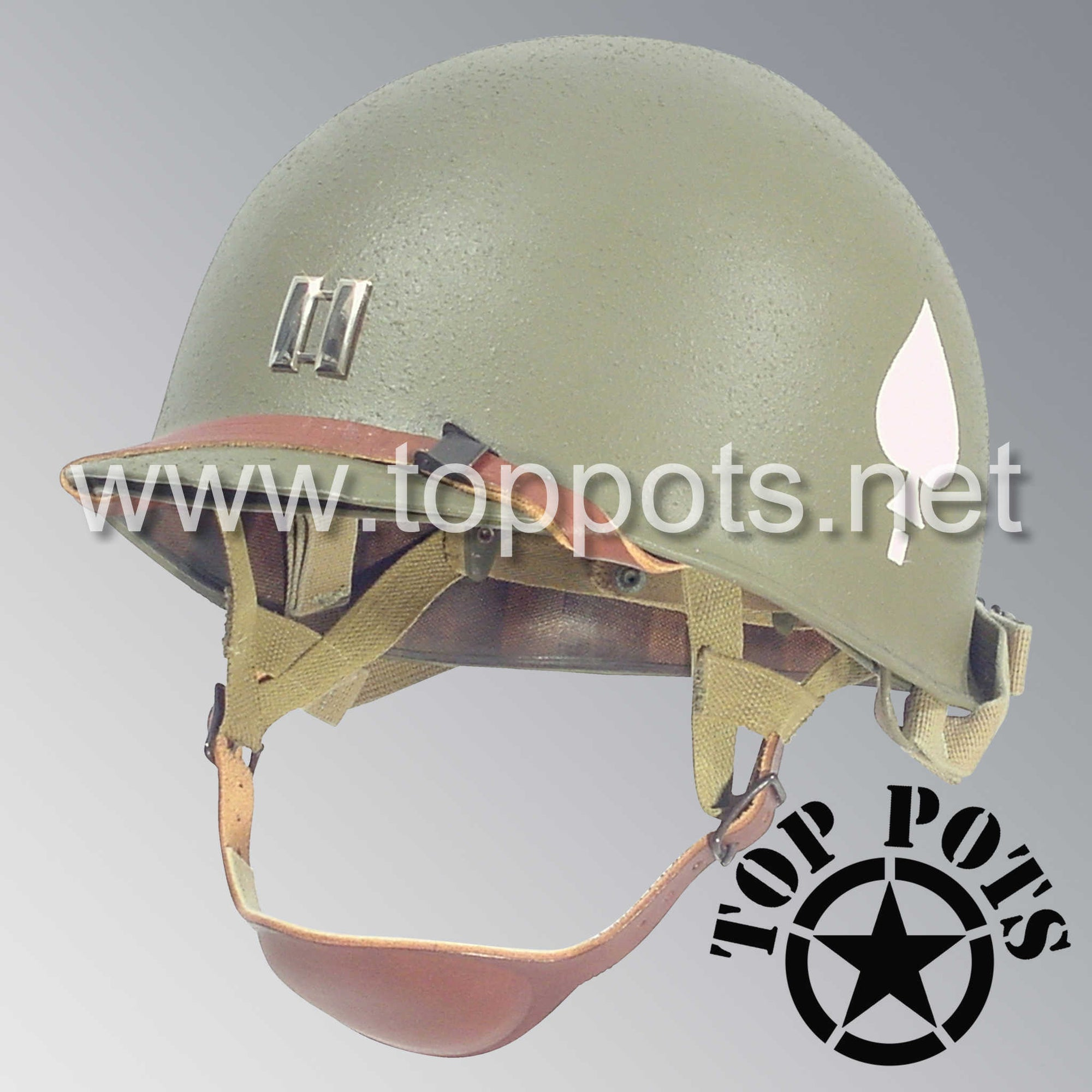 Image 1 of WWII US Army Restored Original M2 Paratrooper Airborne Helmet D Bale Shell and Liner with 506th PIR 2nd Battalion Officer Metal Captain Rank Emblem