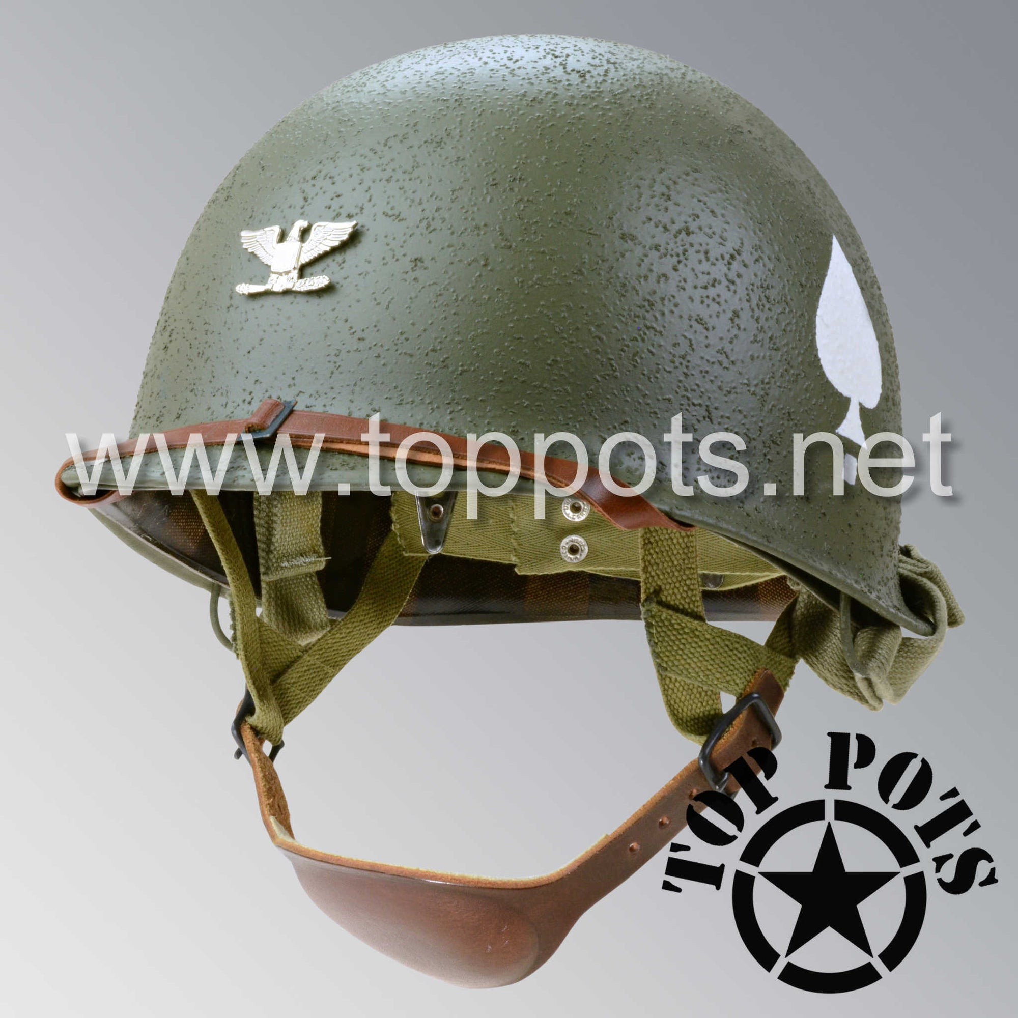Image 1 of WWII US Army Restored Original M2 Paratrooper Airborne Helmet D Bale Shell and Liner with 506th 2nd Battalion PIR Lt. Colonel Metal Officer Emblem