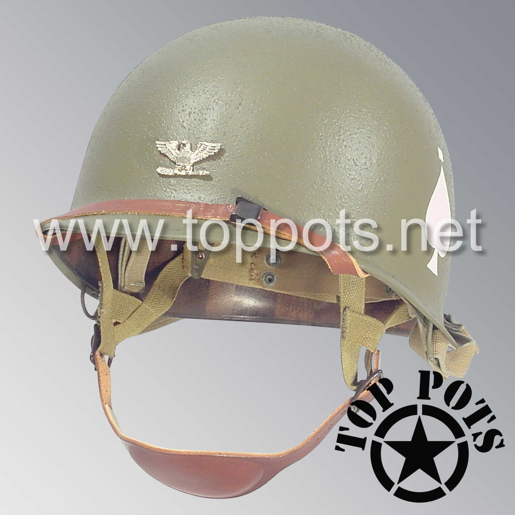 Image 1 of WWII US Army Restored Original M2 Paratrooper Airborne Helmet D Bale Shell and Liner with 506th PIR HQ Battalion Officer Metal Colonel Rank Emblem