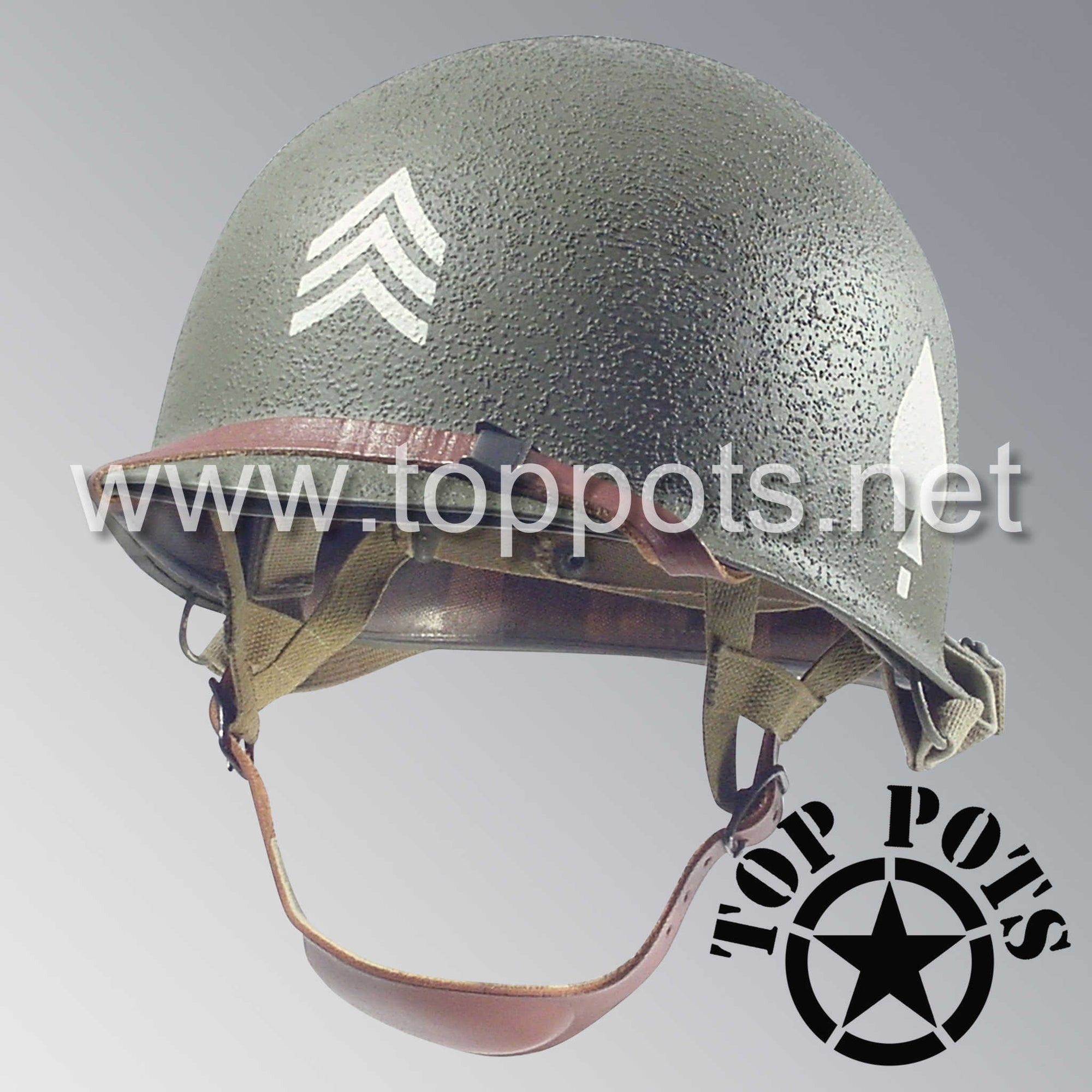 Image 1 of WWII US Army Restored Original M2 Paratrooper Airborne Helmet D Bale Shell and Liner with 506th PIR 2nd Battalion Technical Sergeant NCO Emblem