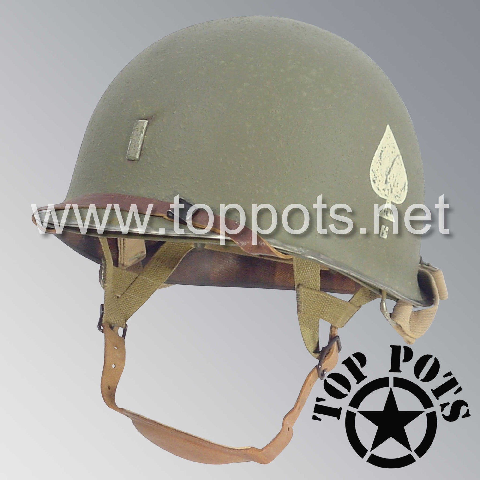 Image 1 of WWII US Army Aged Original M2 Paratrooper Airborne Helmet D Bale Shell and Liner with 506th PIR 2nd Battalion Officer Metal Lieutenant Rank Emblem