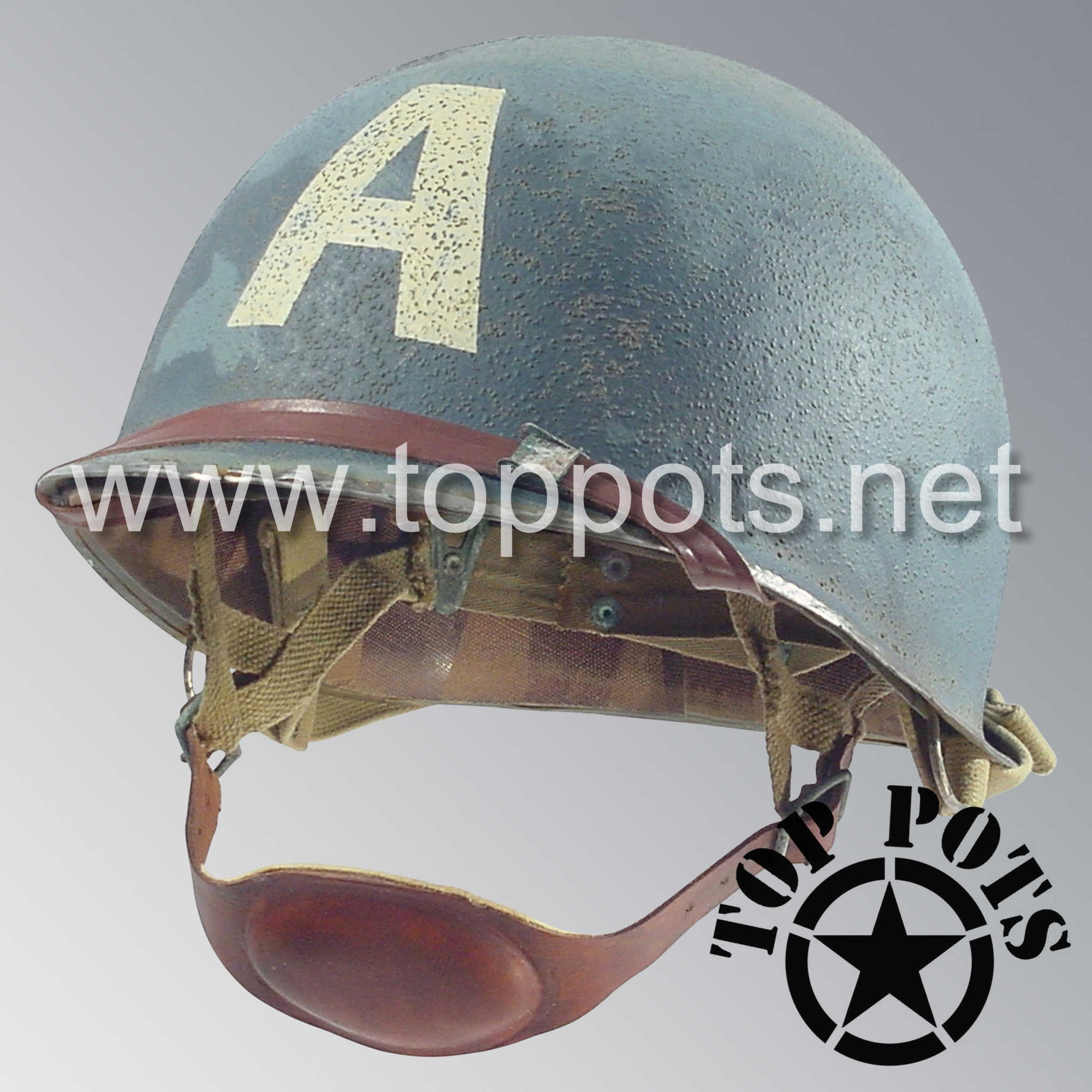 Image 1 of WWII US Army Aged Original M2 Paratrooper Airborne Helmet D Bale Shell and Liner with Captain America Emblem