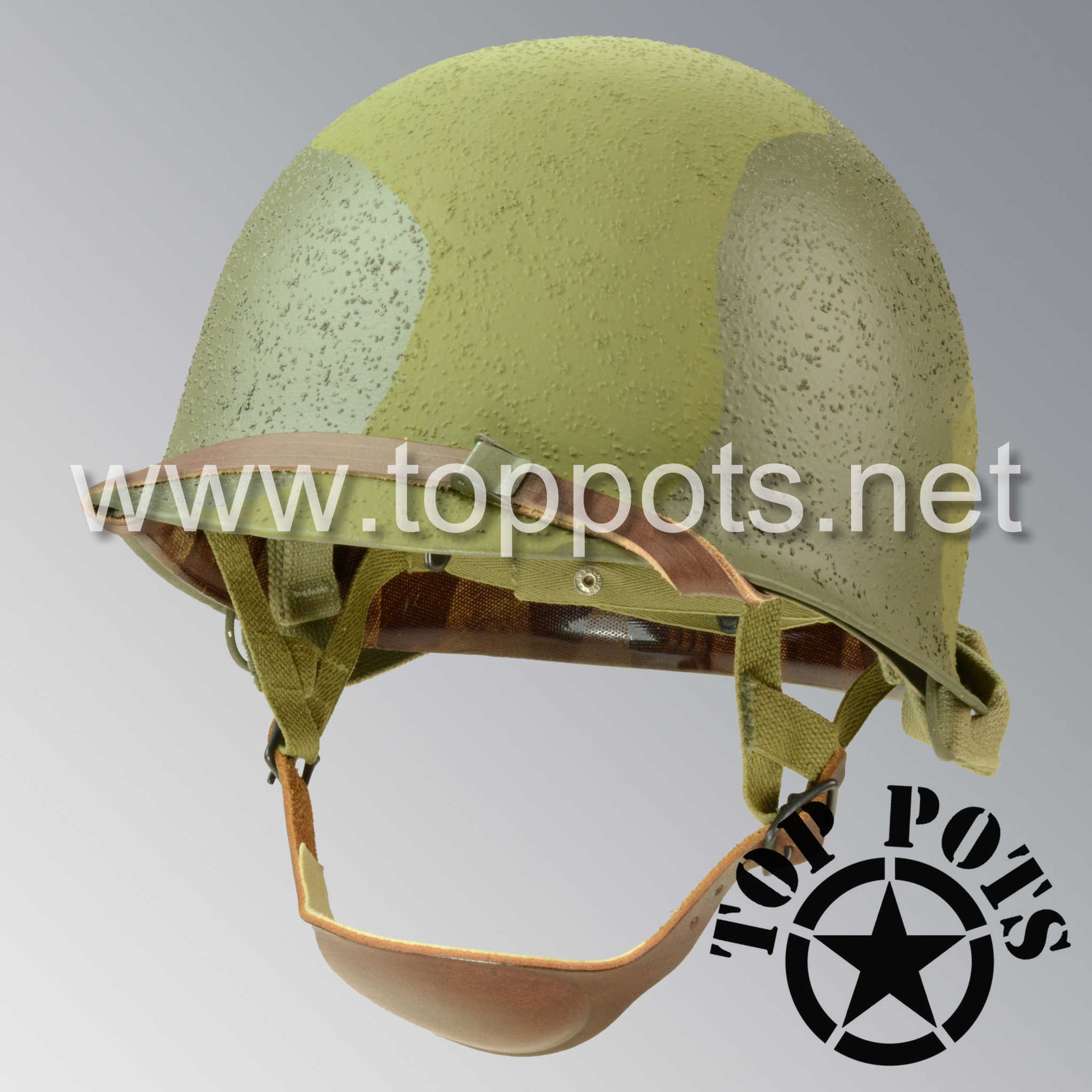Image 1 of WWII US Army Restored Original M2 Paratrooper Airborne Helmet D Bale Shell and Liner with 82nd Airborne Pathfinder Camouflage Emblem