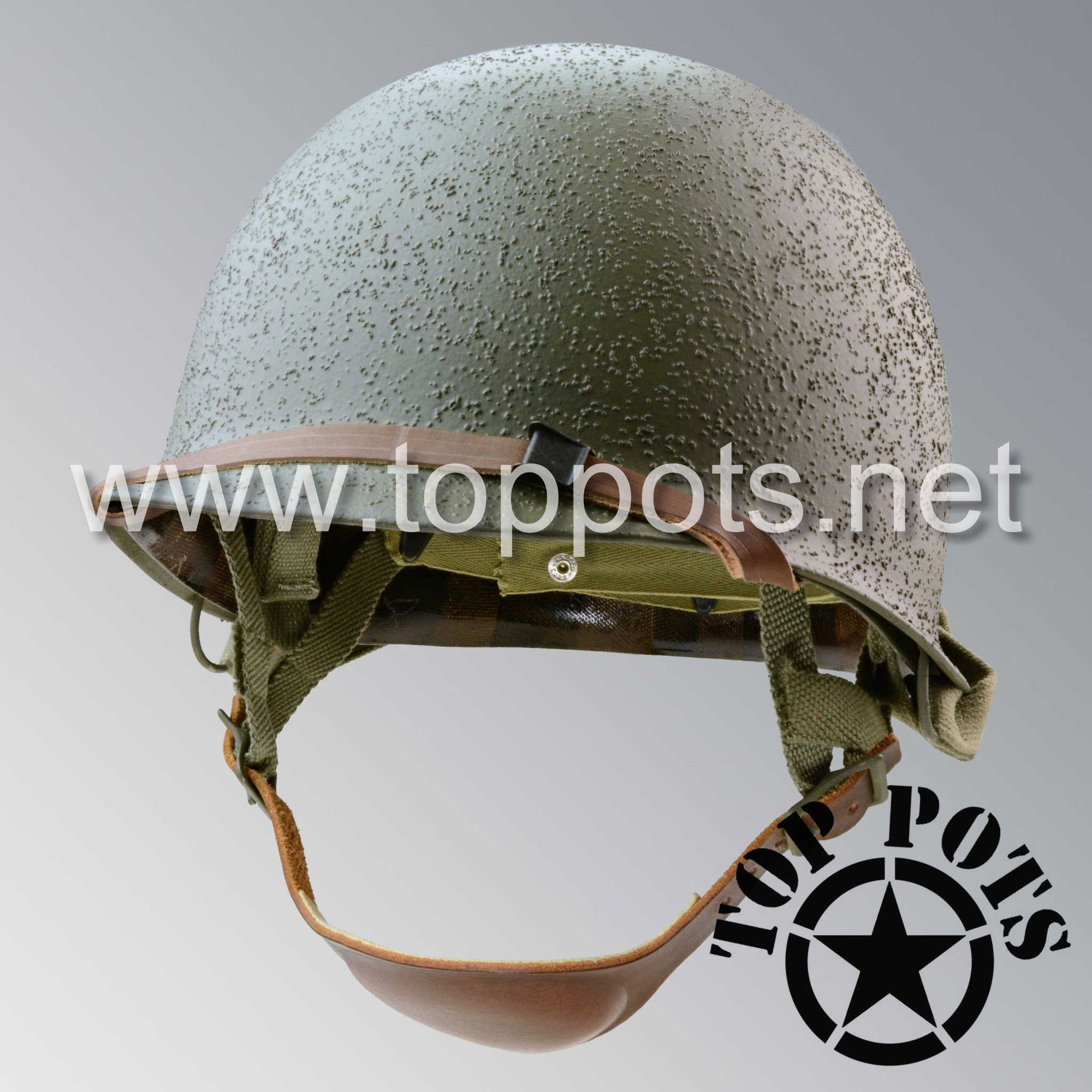 Image 1 of WWII US Army Restored Original M2 Paratrooper Airborne Helmet D Bale Shell and Liner with Westinghouse A Straps