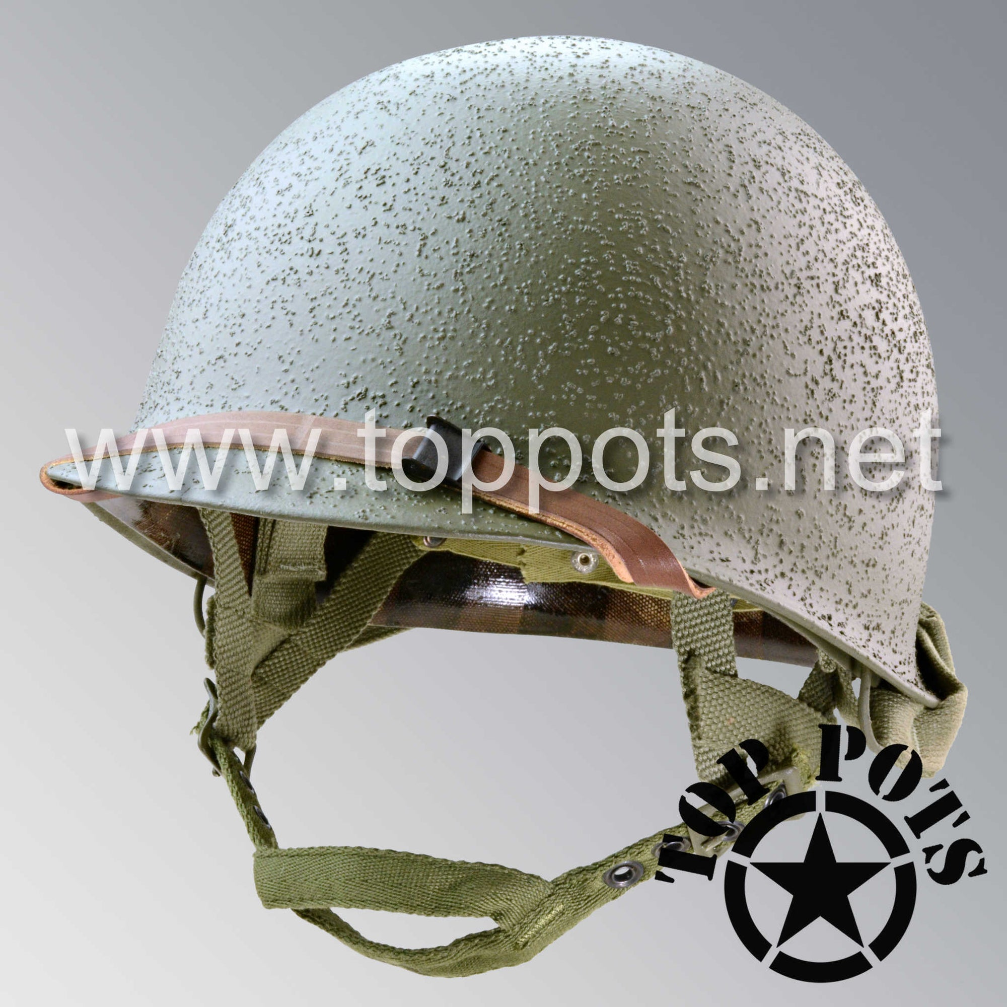 Image 1 of WWII US Army Restored Original M2 Paratrooper Airborne Helmet D Bale Shell and Liner with Westinghouse A Straps and Webbed Chincup