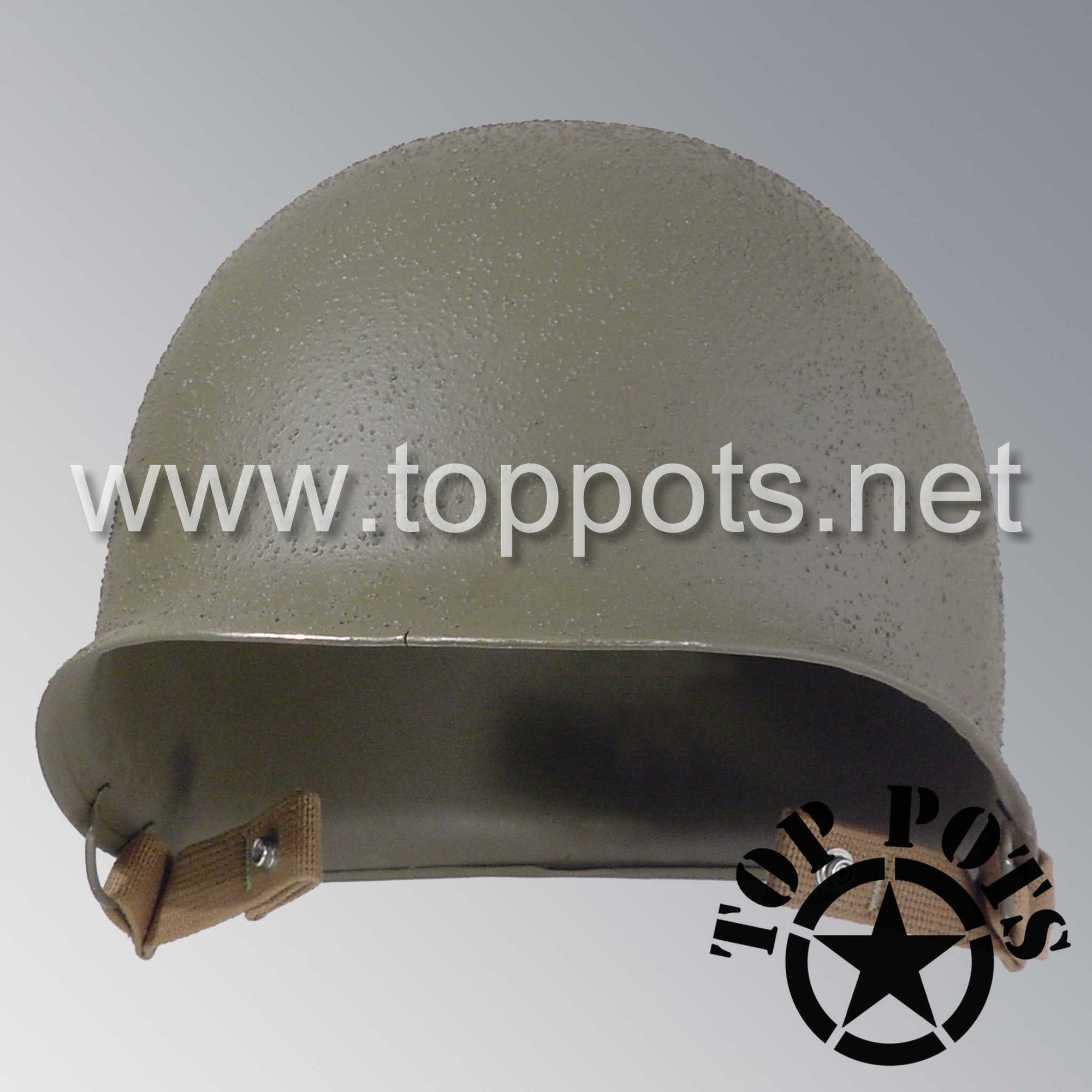 Image 1 of WWII US Army Restored Original M2 Paratrooper Airborne Helmet D Bale Shell with Chinstraps