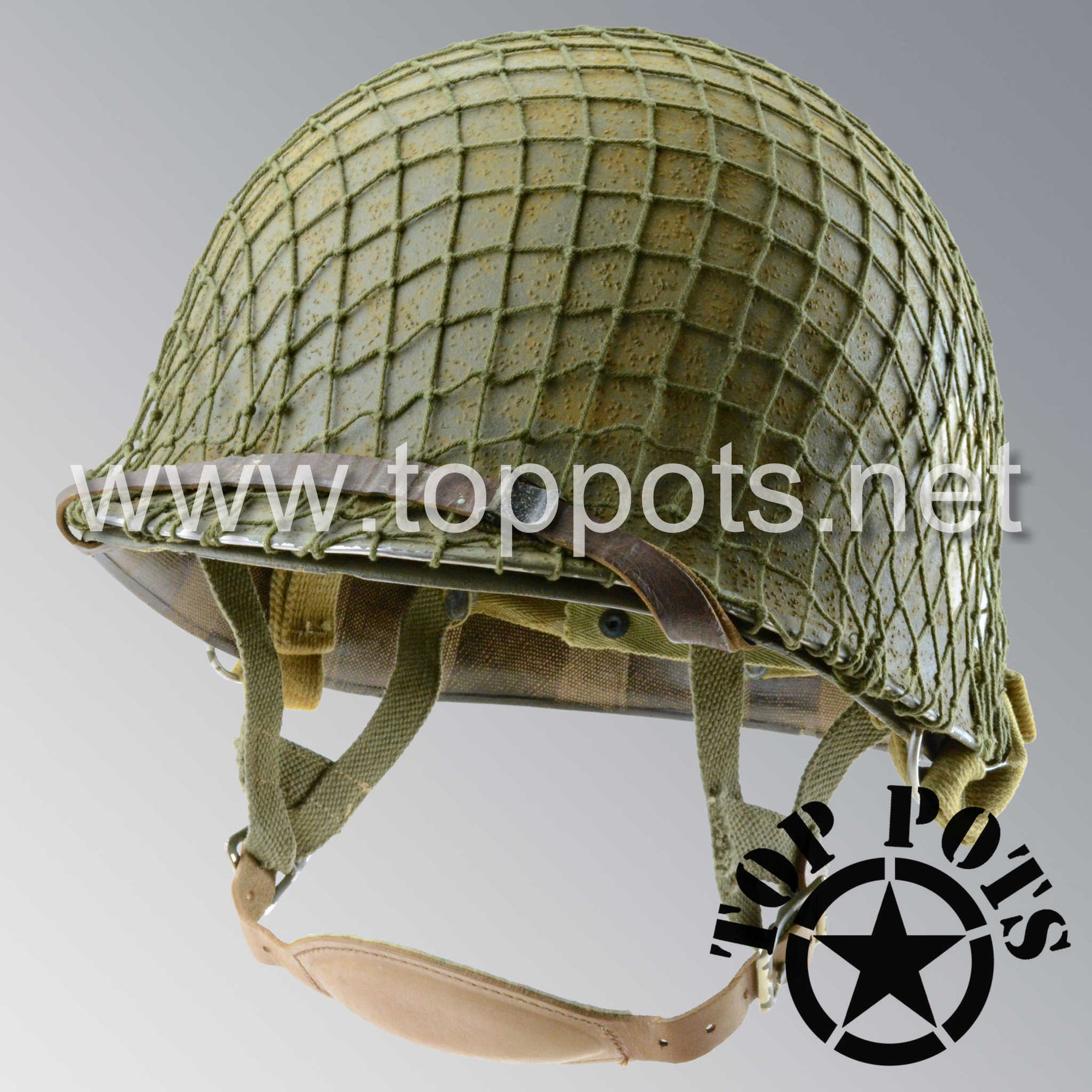 Image 1 of WWII US Army Aged Original M2 Paratrooper Airborne Helmet D Bale Shell and Liner with 502nd PIR Emblem and Net