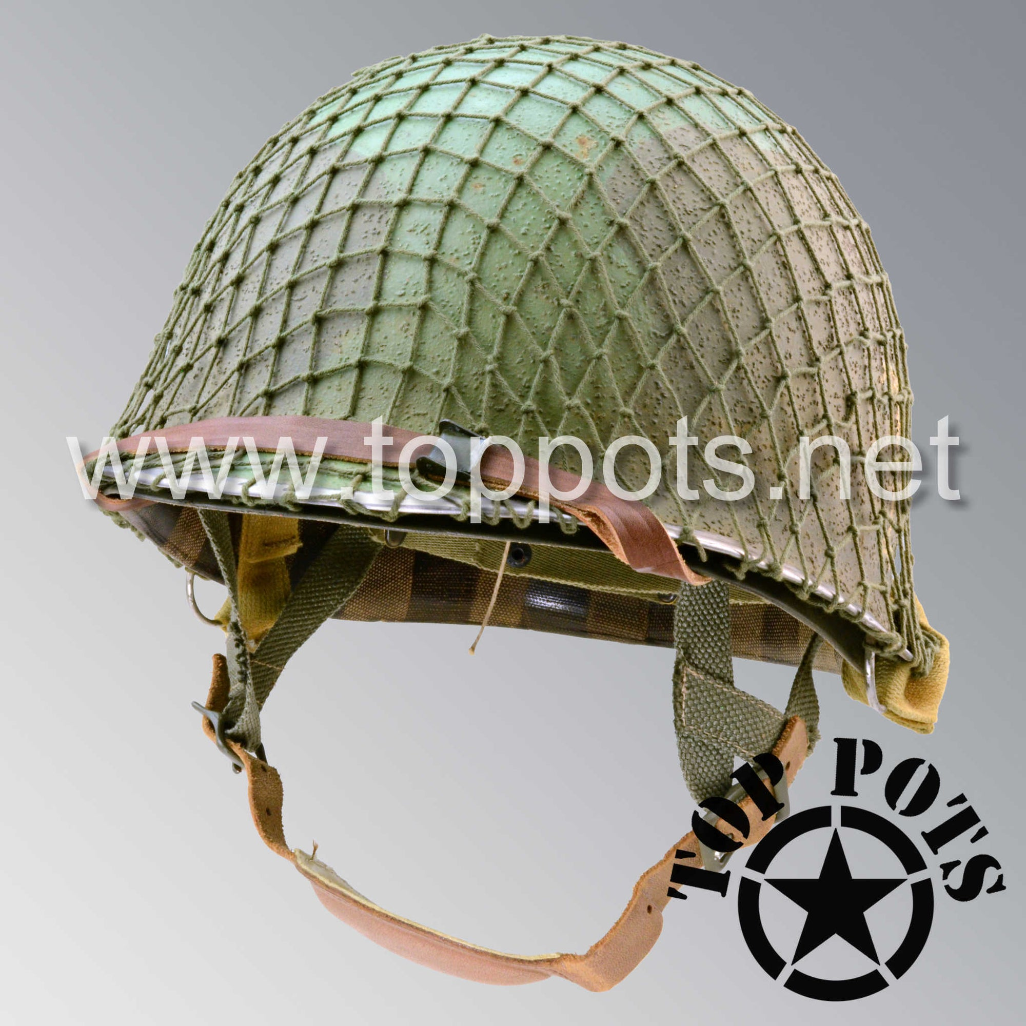 Image 1 of WWII US Army Aged Original M2 Paratrooper Airborne Helmet D Bale Shell and Liner with 551st PIR Pathfinder Camouflage Emblem and Net