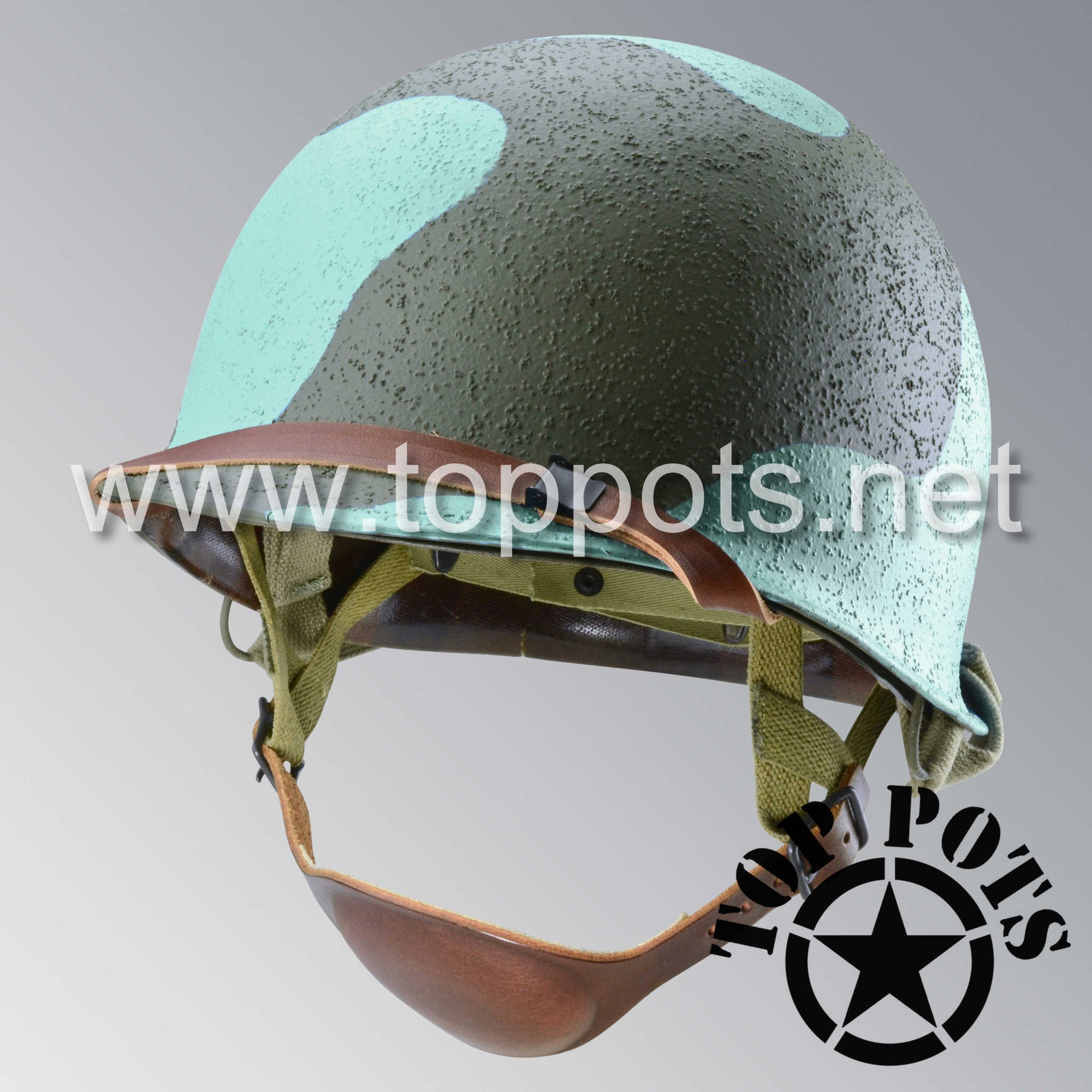 Image 1 of WWII USMC Marine Corps M2 Para Marine Paratrooper Airborne Helmet D Bale Shell and Liner with Pacific Water Camouflage Emblem - Sea Foam Blue