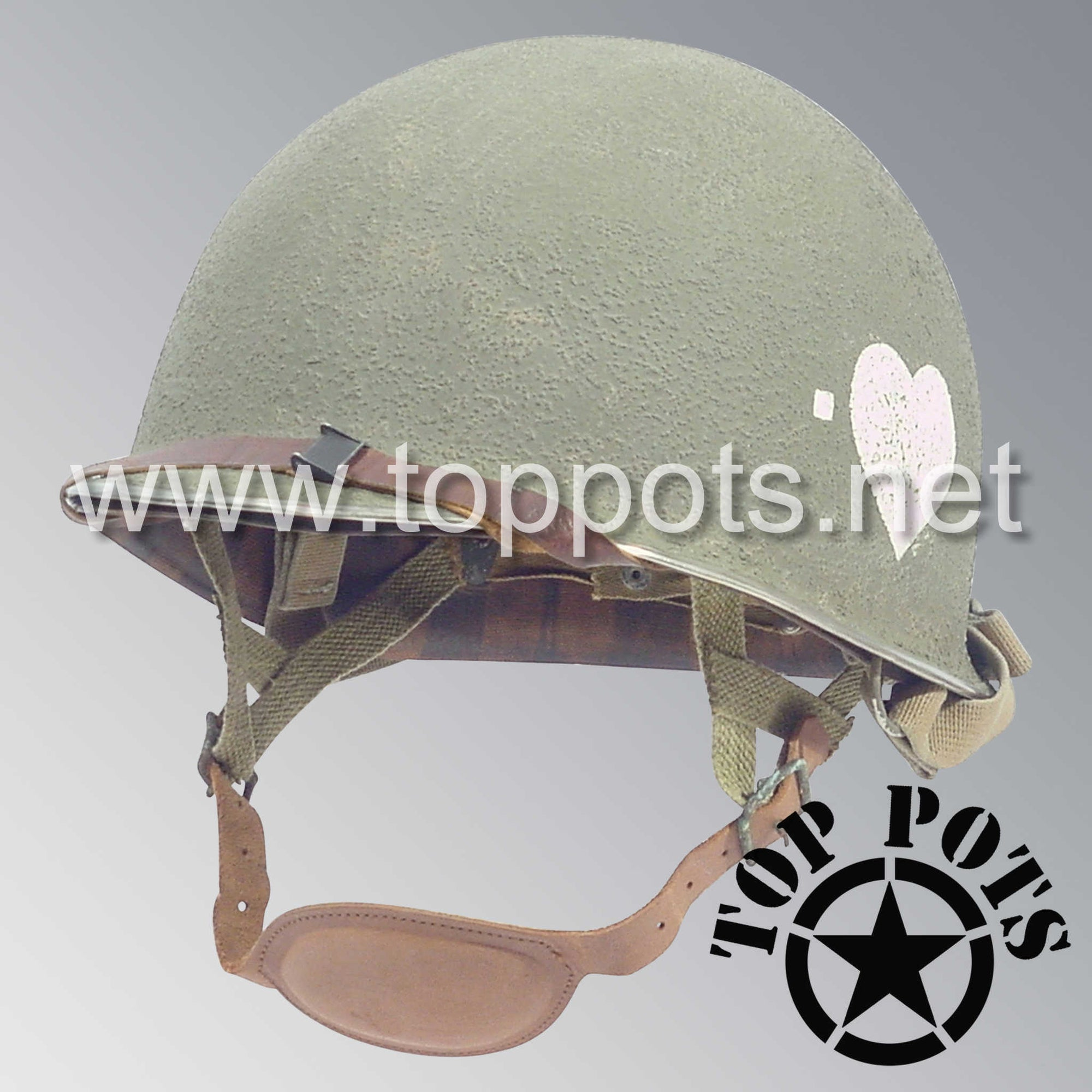 Image 1 of WWII US Army Aged Original M2 Paratrooper Airborne Helmet D Bale Shell and Liner with 502nd PIR 2rd Battalion Emblem