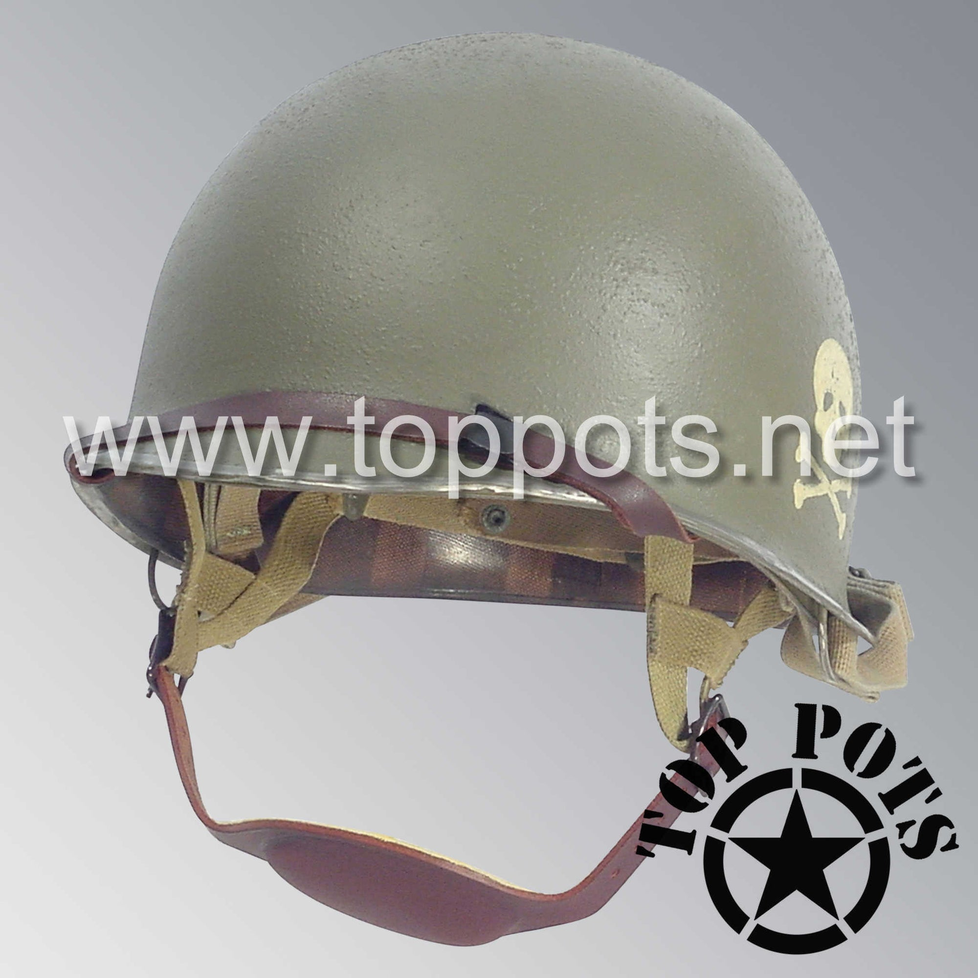 Image 1 of WWII US Army Aged Original M2 Paratrooper Airborne Helmet D Bale Shell and Liner with 504th PIR Emblem