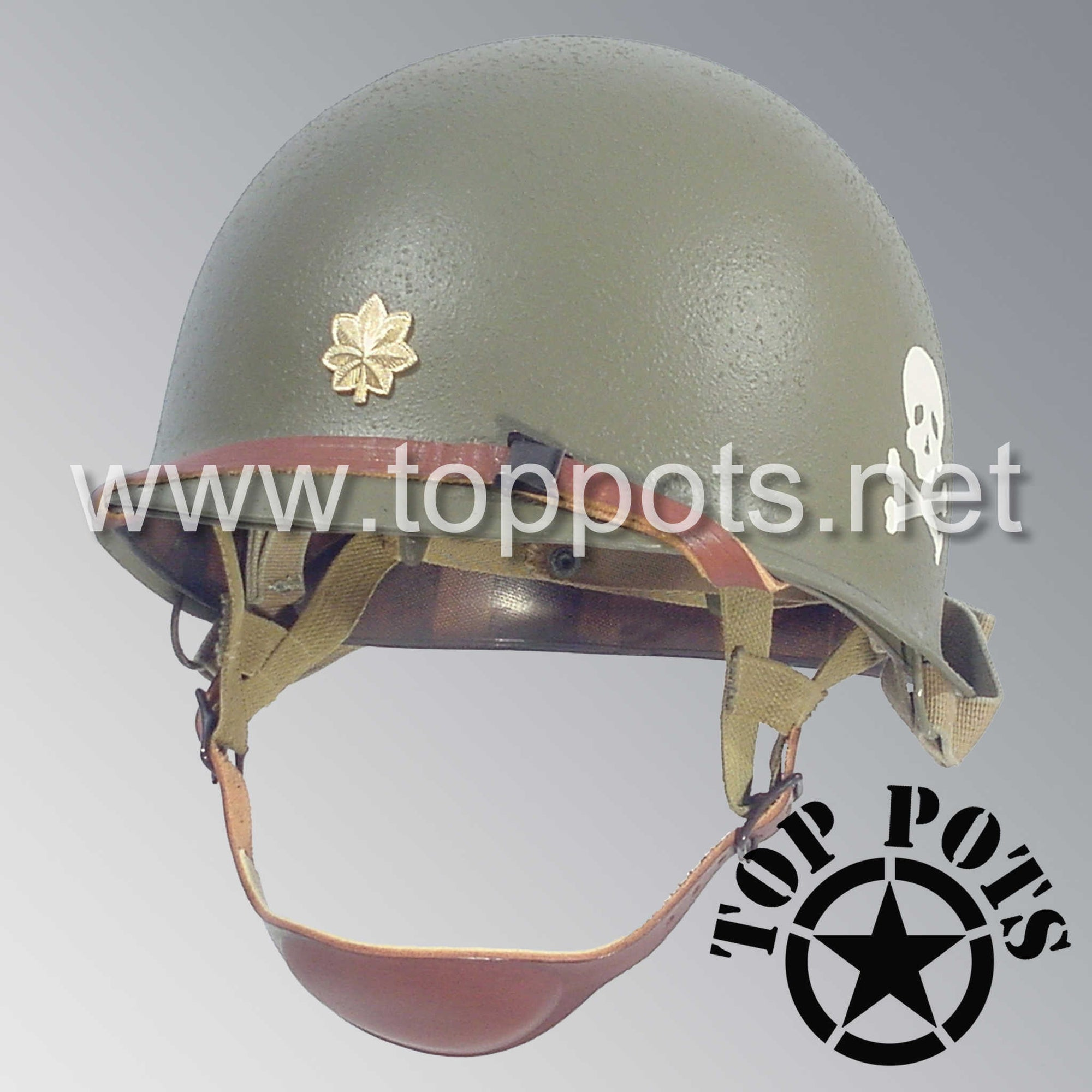 Image 1 of WWII US Army Restored Original M2 Paratrooper Airborne Helmet D Bale Shell and Liner with 504th PIR Officer Metal Major Rank Emblem