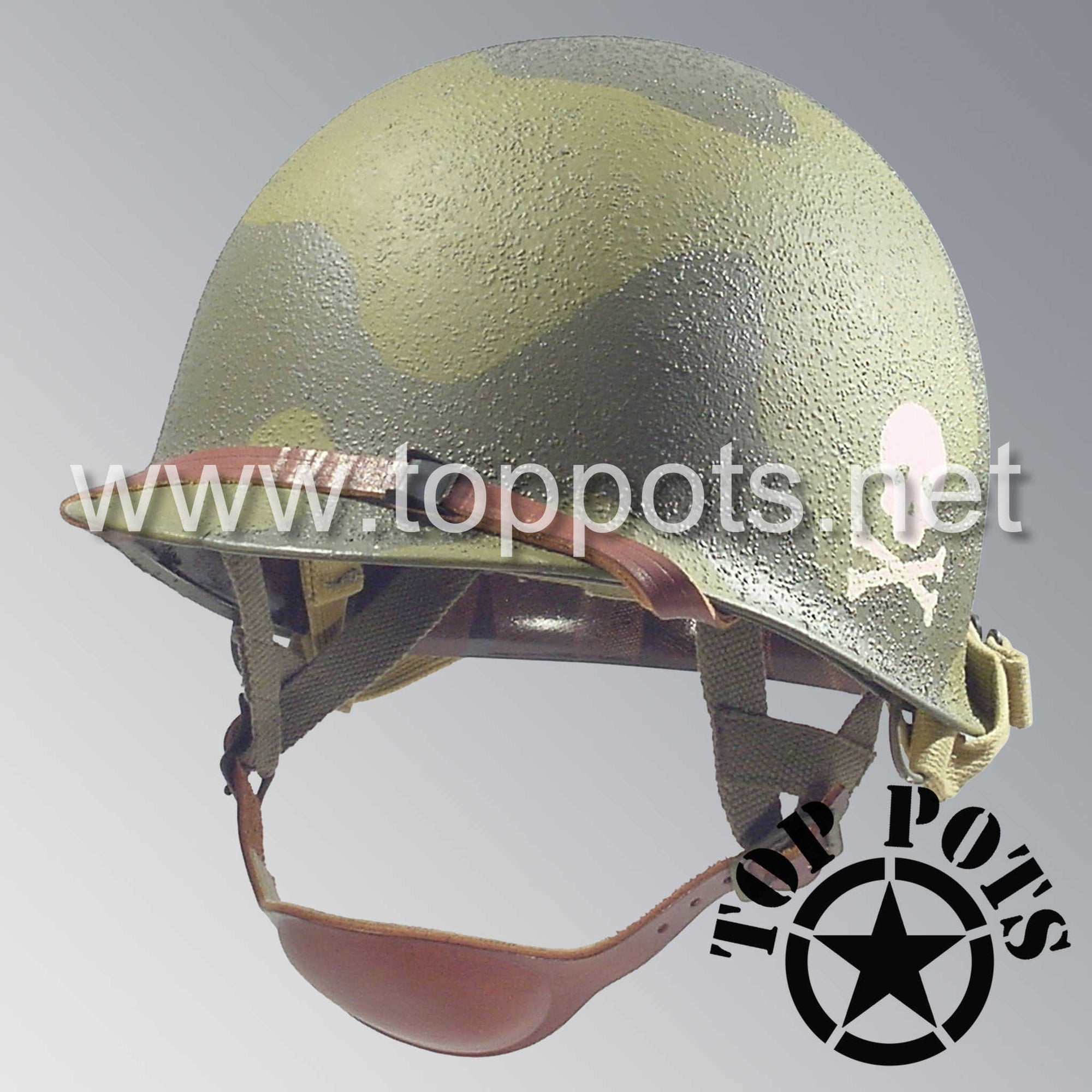 Image 1 of WWII US Army Restored Original M2 Paratrooper Airborne Helmet D Bale Shell and Liner with 504th PIR Officer Pathfinder Camouflage Emblem