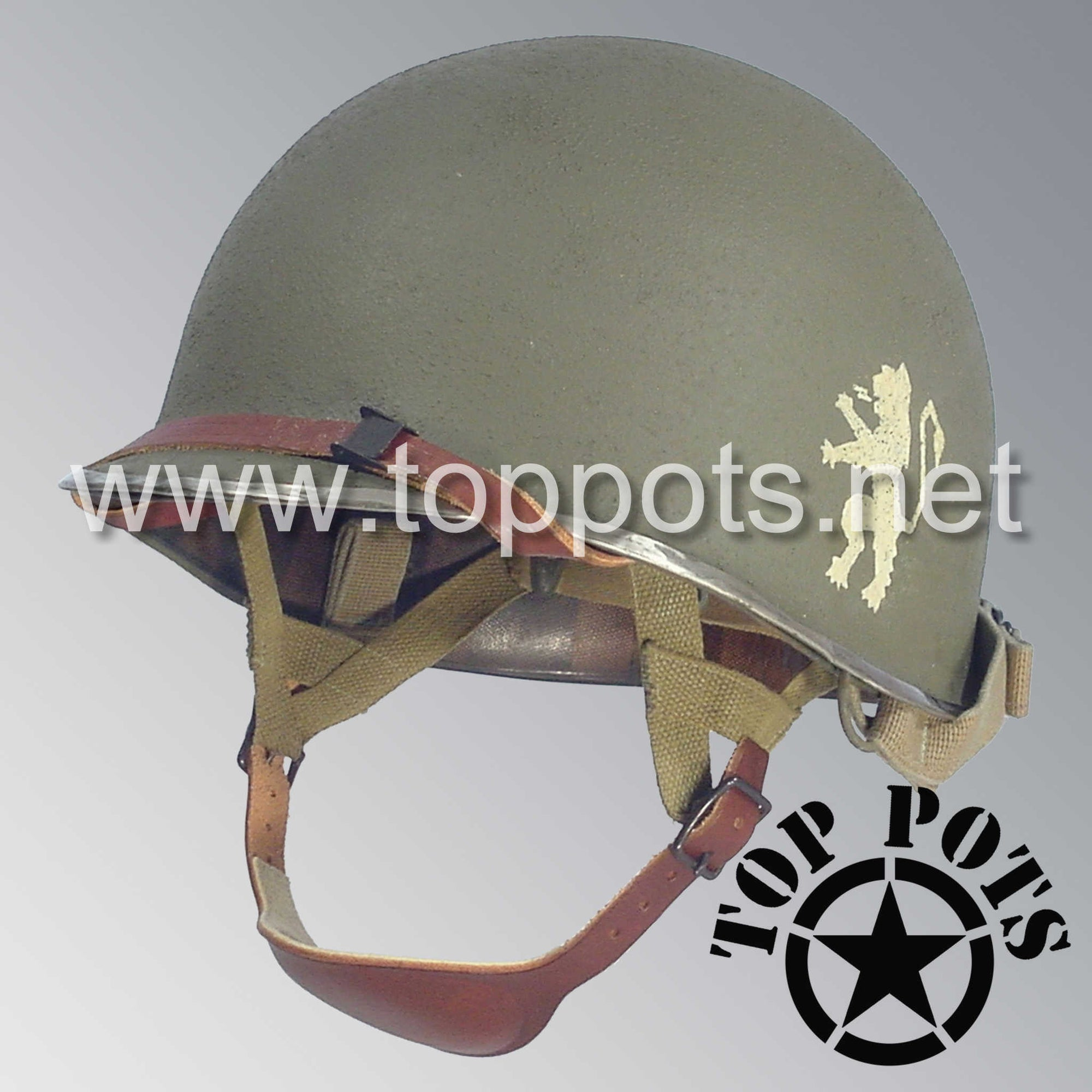 Image 1 of WWII US Army Aged Original M2 Paratrooper Airborne Helmet D Bale Shell and Liner with 505th PIR Officer Emblem