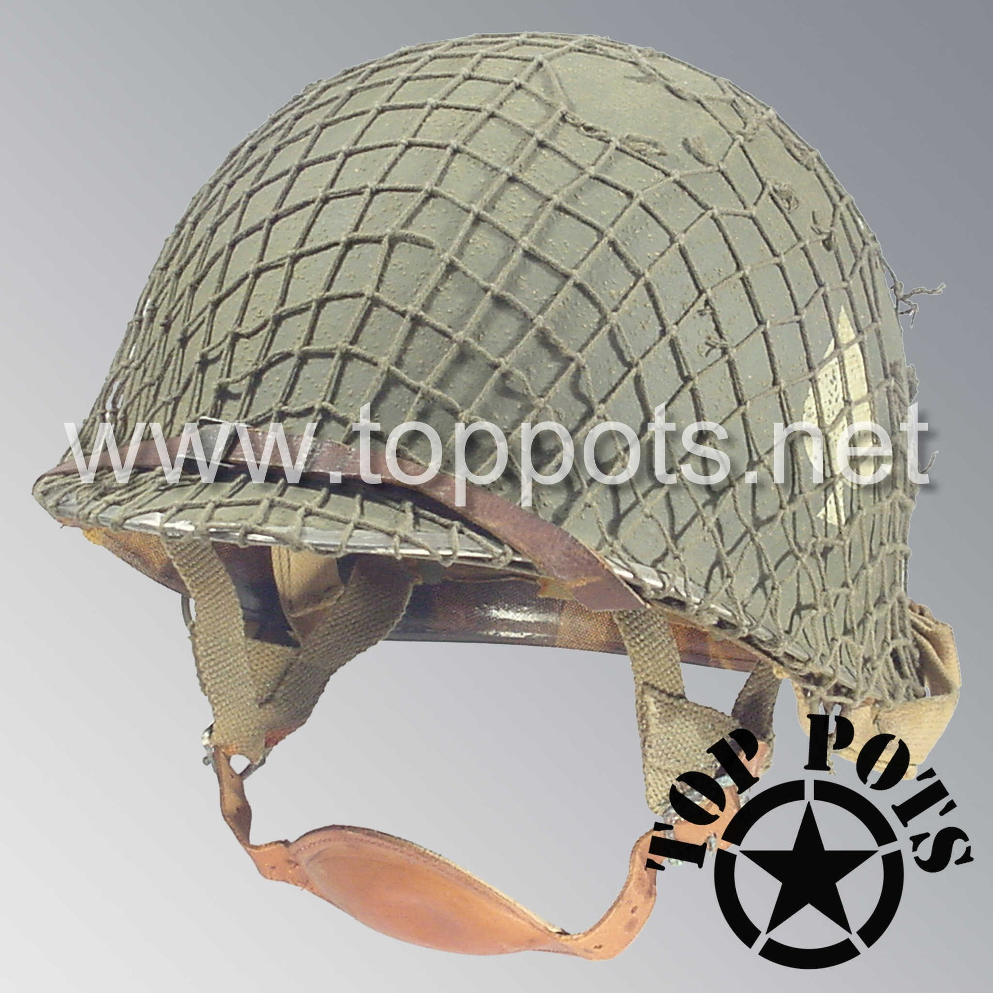 Image 1 of WWII US Army Aged Original M2 Paratrooper Airborne Helmet D Bale Shell and Liner with 506th PIR 1st Battalion NCO Emblem with Net