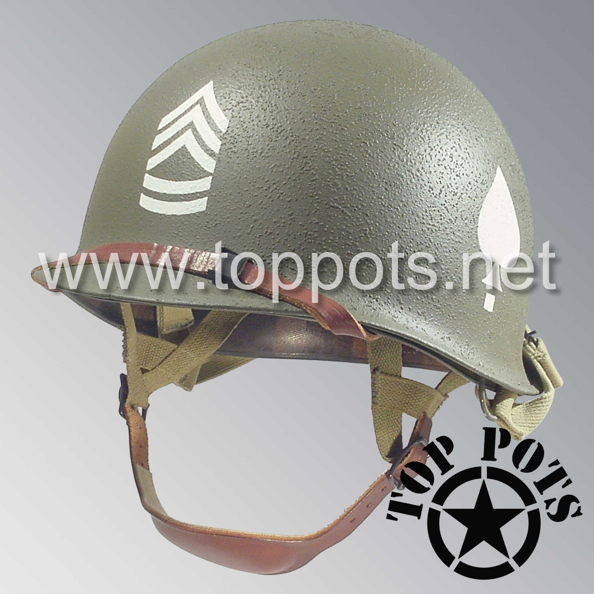 Image 1 of WWII US Army Restored Original M2 Paratrooper Airborne Helmet D Bale Shell and Liner with 506th PIR 2nd Battalion Sergeant 1st Class NCO Emblem