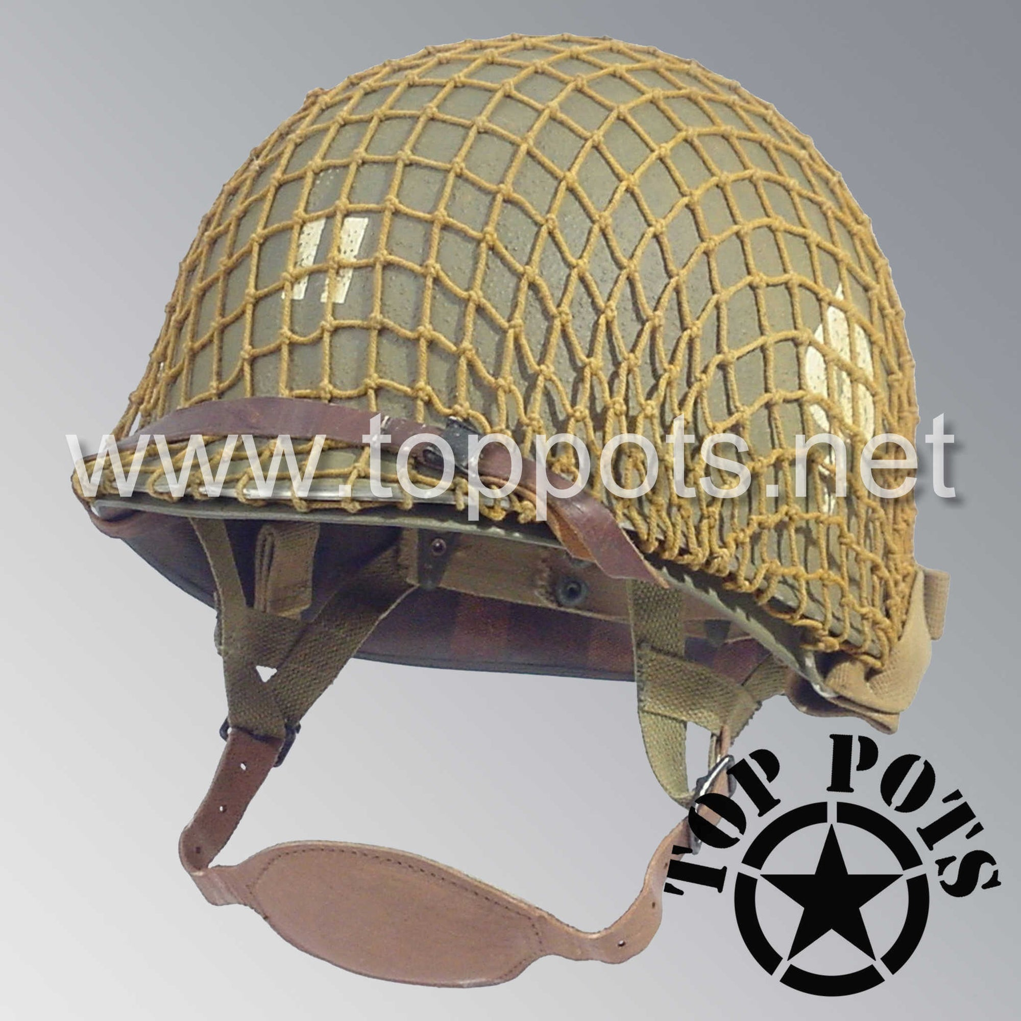 Image 1 of WWII US Army Aged Original M2 Paratrooper Airborne Helmet D Bale Shell and Liner with 506th PIR 2nd Battalion Officer Captain Rank Emblem with Net