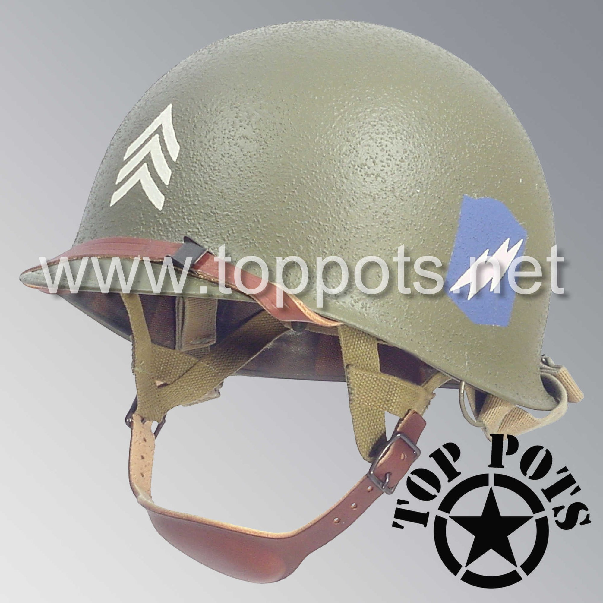 Image 1 of WWII US Army Restored Original M2 Paratrooper Airborne Helmet D Bale Shell and Liner with 507th PIR NCO Emblem
