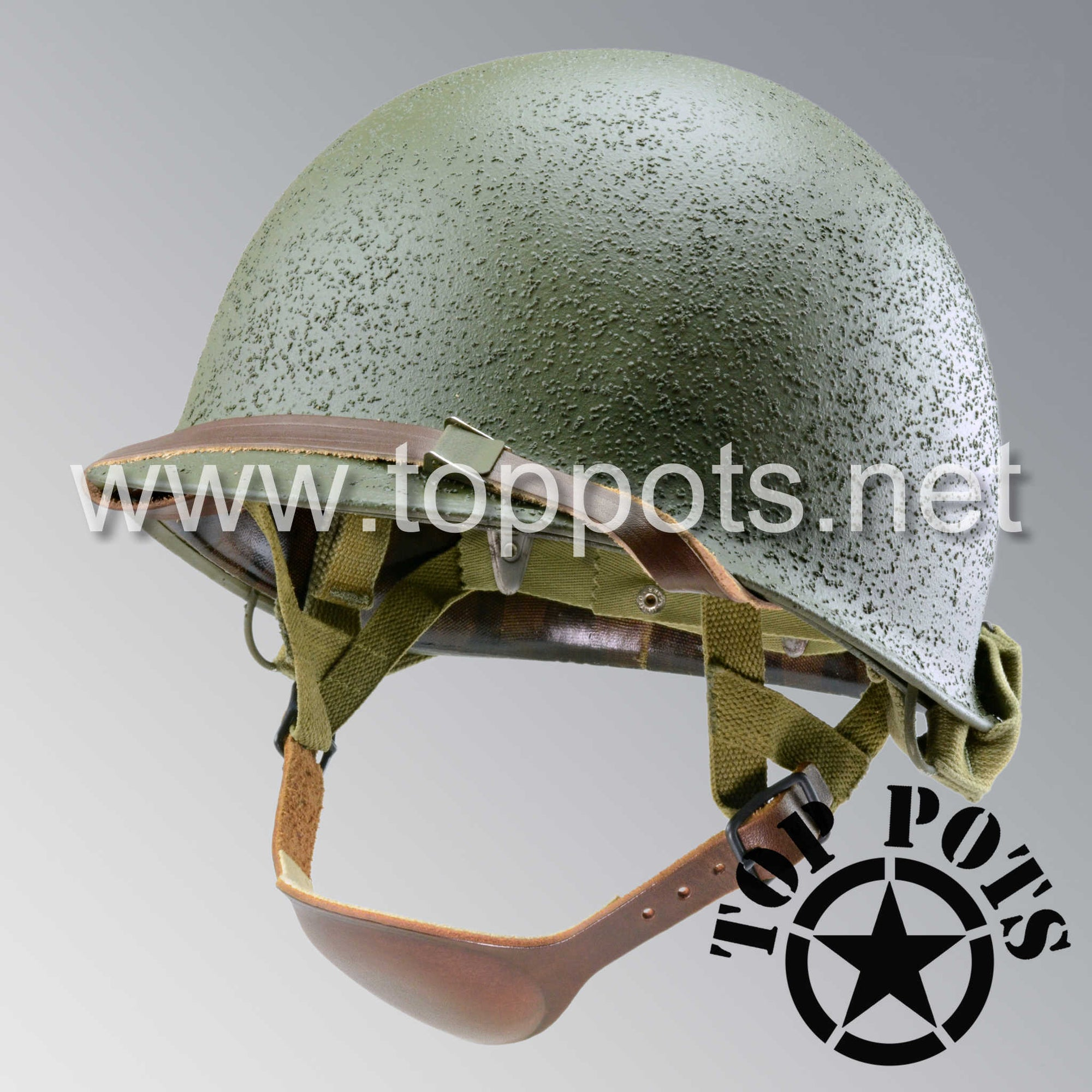 Image 1 of WWII US Army Restored Original M2 Paratrooper Airborne Helmet D Bale Shell and Liner with Inland A Straps