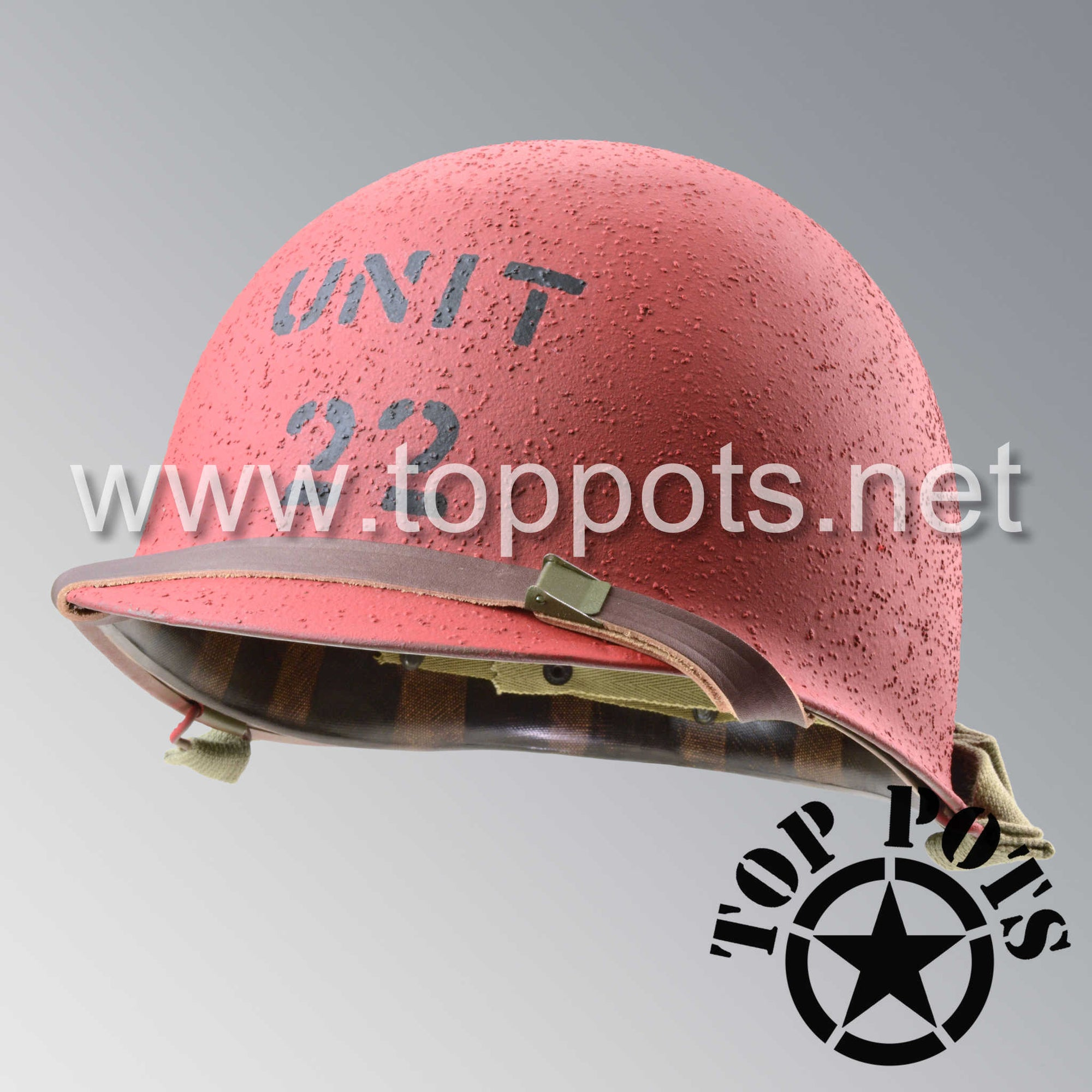 Image 1 of WWII US Navy Restored Original M1 Infantry Helmet Swivel Bale Shell and Liner with Fire Brigade USN Emblem