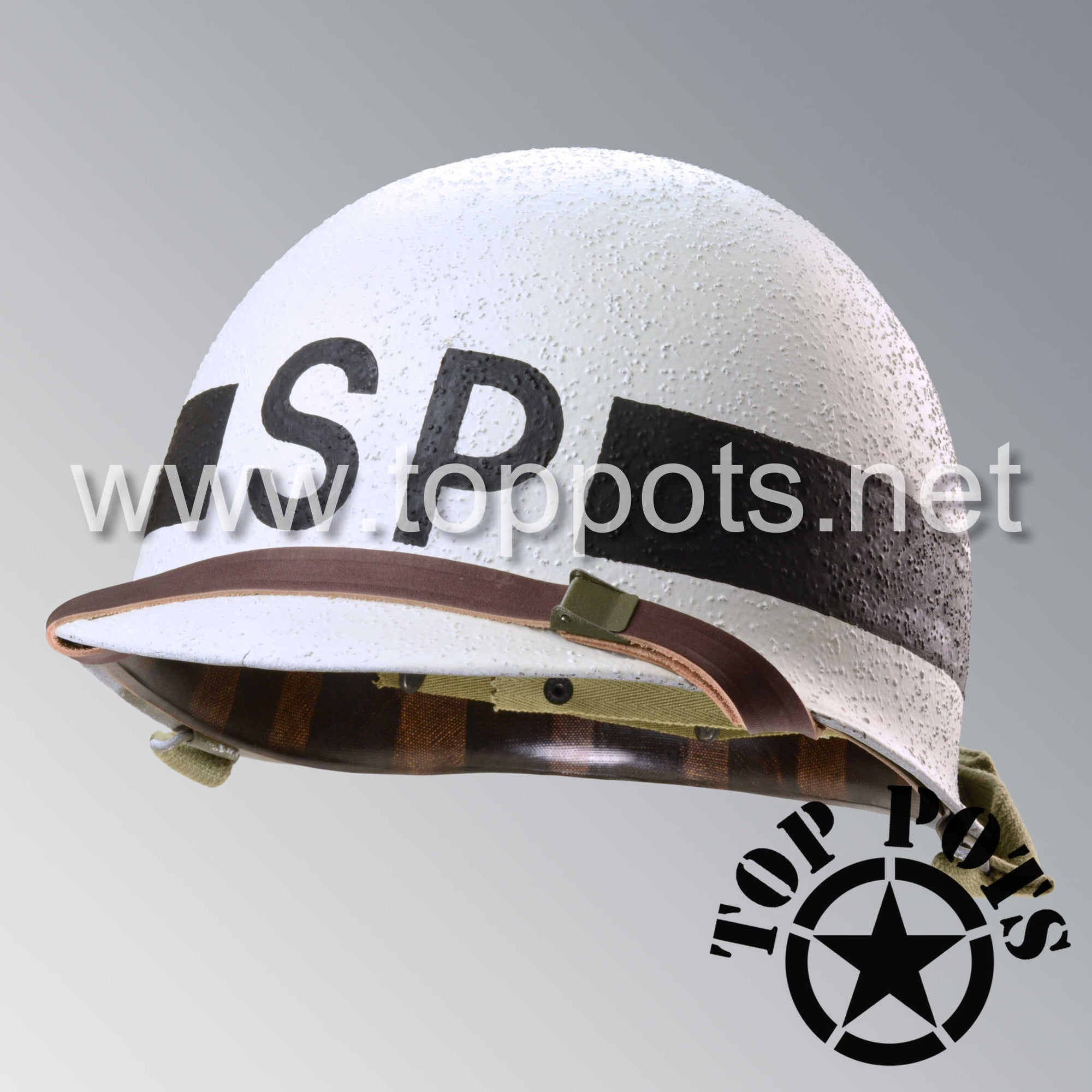 Image 1 of WWII US Navy Restored Original M1 Infantry Helmet Swivel Bale Shell and Liner with Shore Patrol Emblem