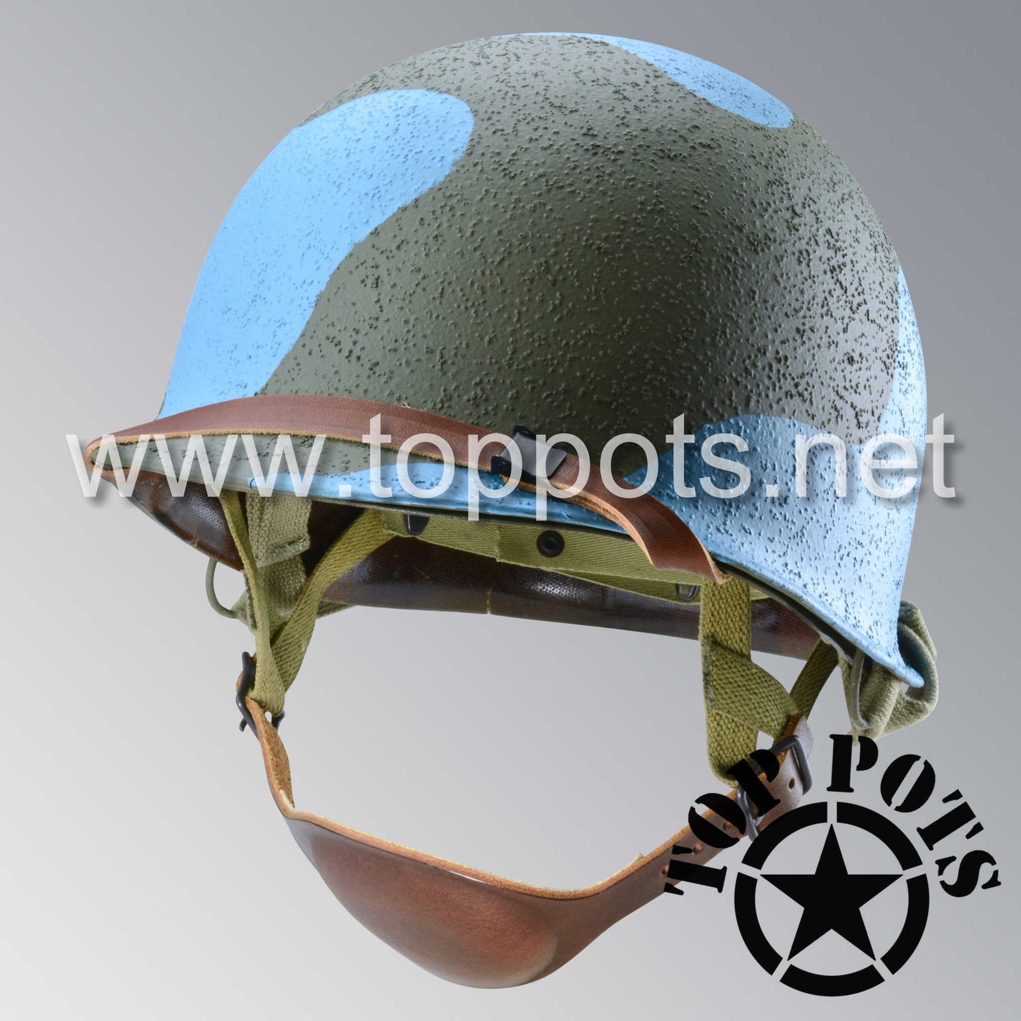 Image 1 of WWII USMC Marine Corps M2 Para Marine Paratrooper Airborne Helmet D Bale Shell and Liner with Pacific Water Camouflage Emblem - Deep Ocean Blue