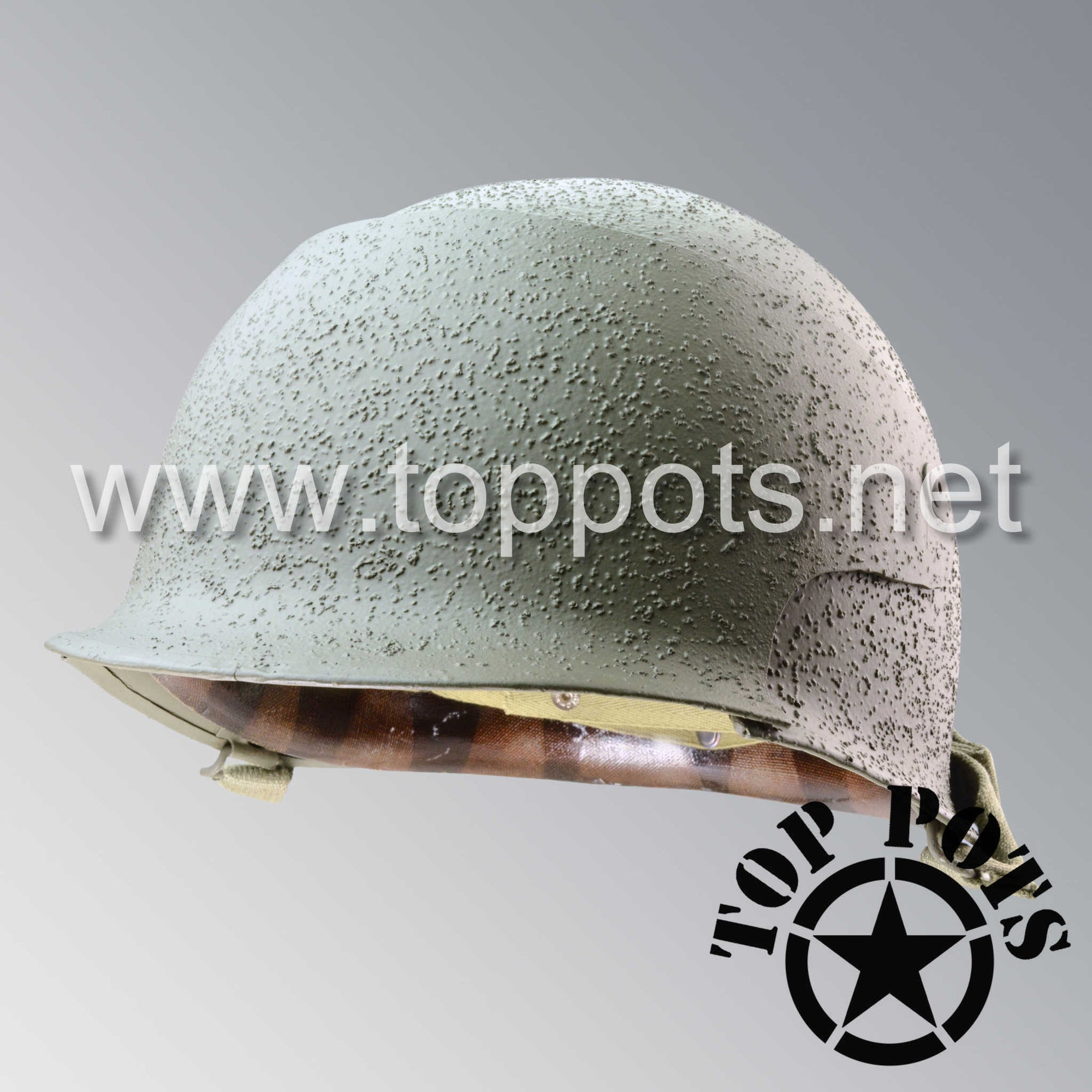 Image 1 of WWII US Army Restored Original T14 Combat Photographer Helmet and Liner 166th Signal Photographic Company