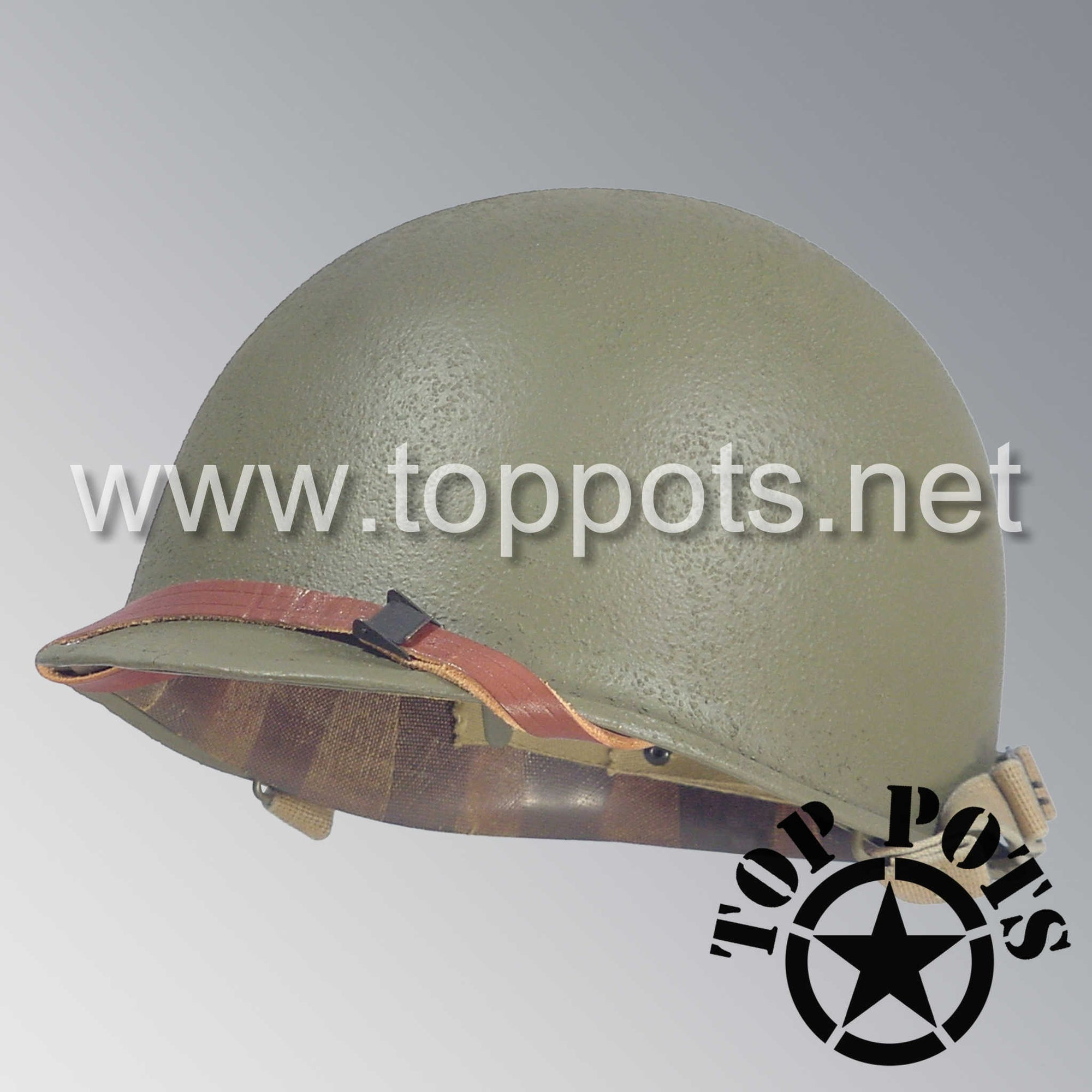 Image 1 of WWII US Army Restored Original M1 Infantry Helmet Swivel Bale Shell and Liner with 10th Armored Division Emblem