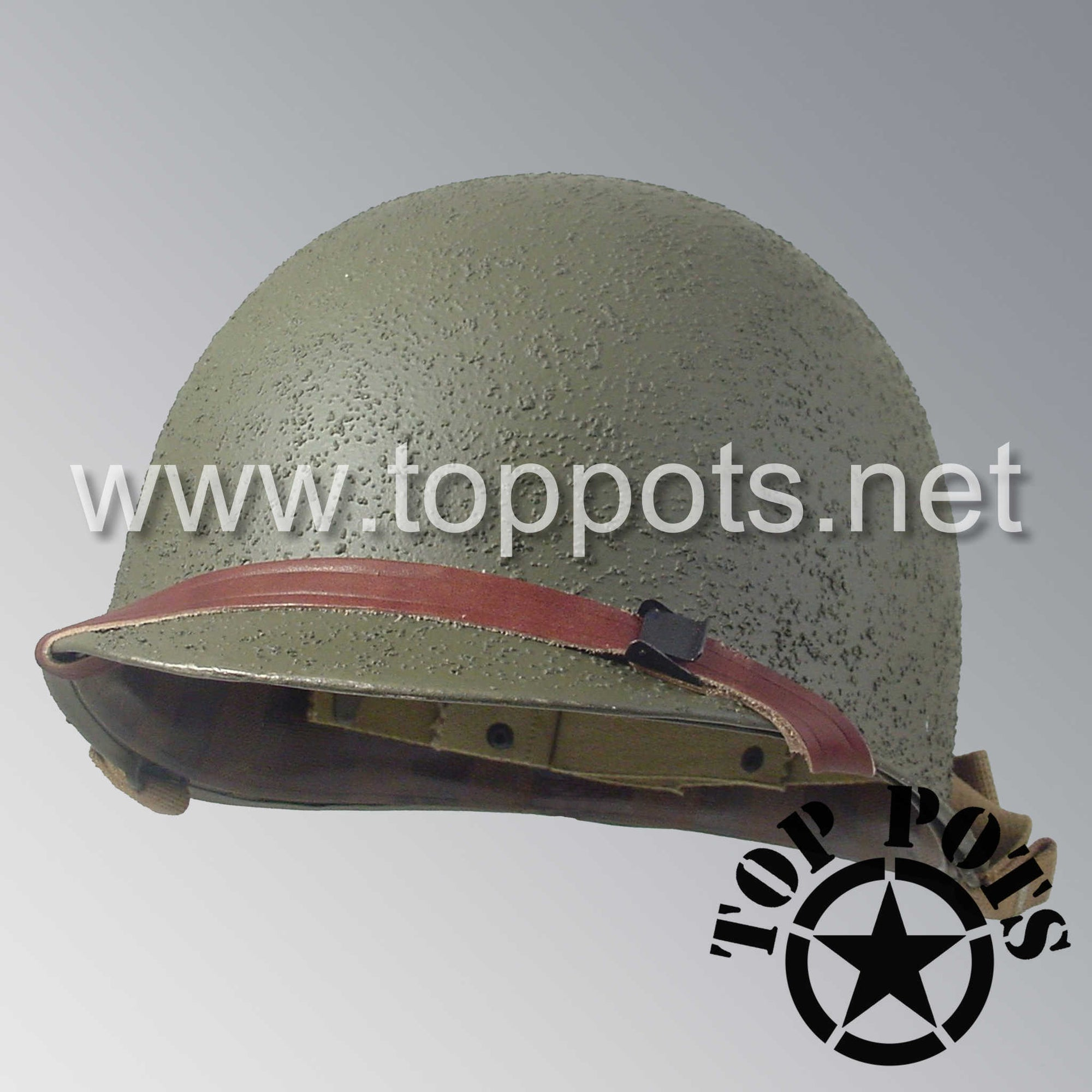Image 1 of WWII US Army Restored Original M1 Infantry Helmet Swivel Bale Shell and Liner with 2nd Ranger Enlisted Emblem