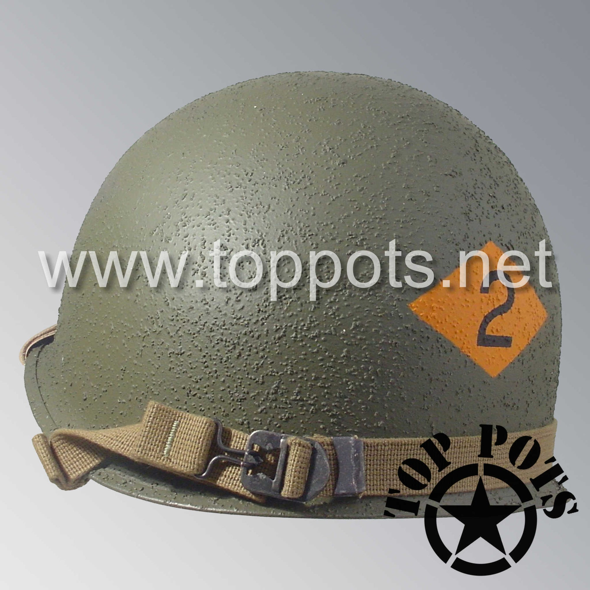 Image 5 of WWII US Army Restored Original M1 Infantry Helmet Swivel Bale Shell and Liner with 2nd Ranger Enlisted Emblem