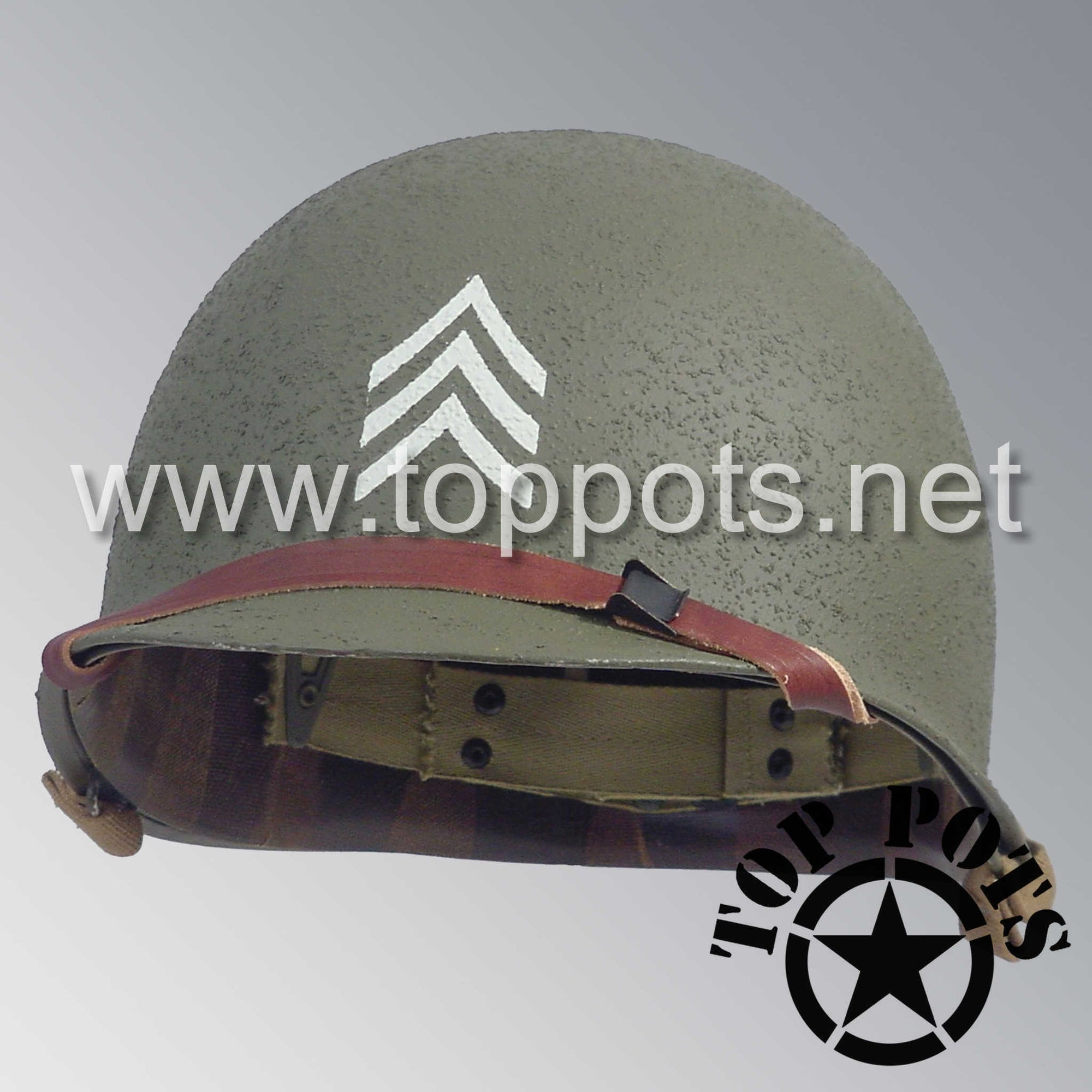 Image 1 of WWII US Army Restored Original M1 Infantry Helmet Swivel Bale Shell and Liner with 2nd Ranger NCO Emblem