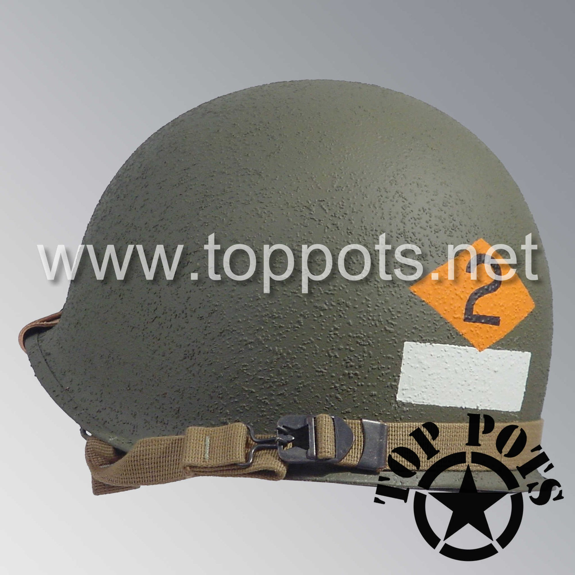 Image 5 of WWII US Army Restored Original M1 Infantry Helmet Swivel Bale Shell and Liner with 2nd Ranger NCO Emblem