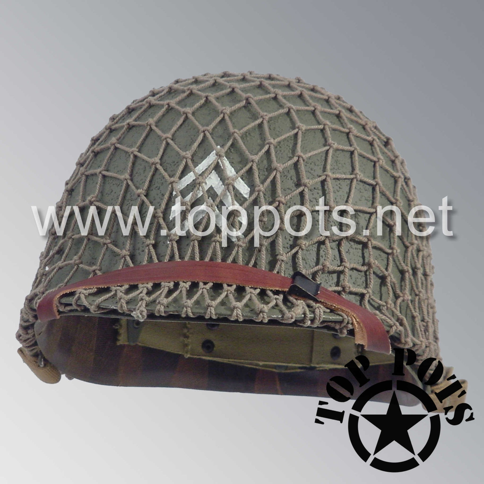 Image 1 of WWII US Army Restored Original M1 Infantry Helmet Swivel Bale Shell and Liner with 2nd Ranger NCO Emblem and Khaki Net