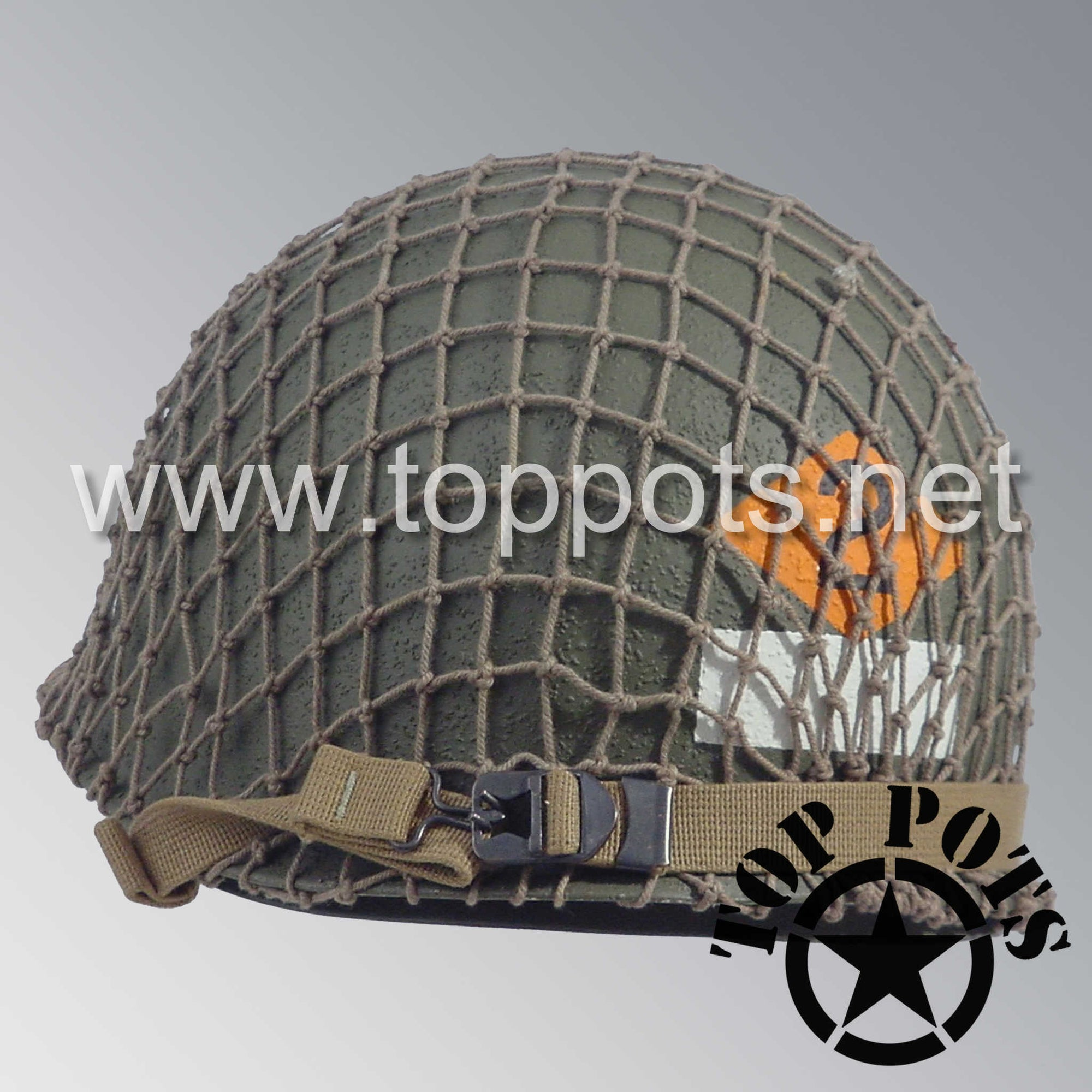 Image 5 of WWII US Army Restored Original M1 Infantry Helmet Swivel Bale Shell and Liner with 2nd Ranger NCO Emblem and Khaki Net