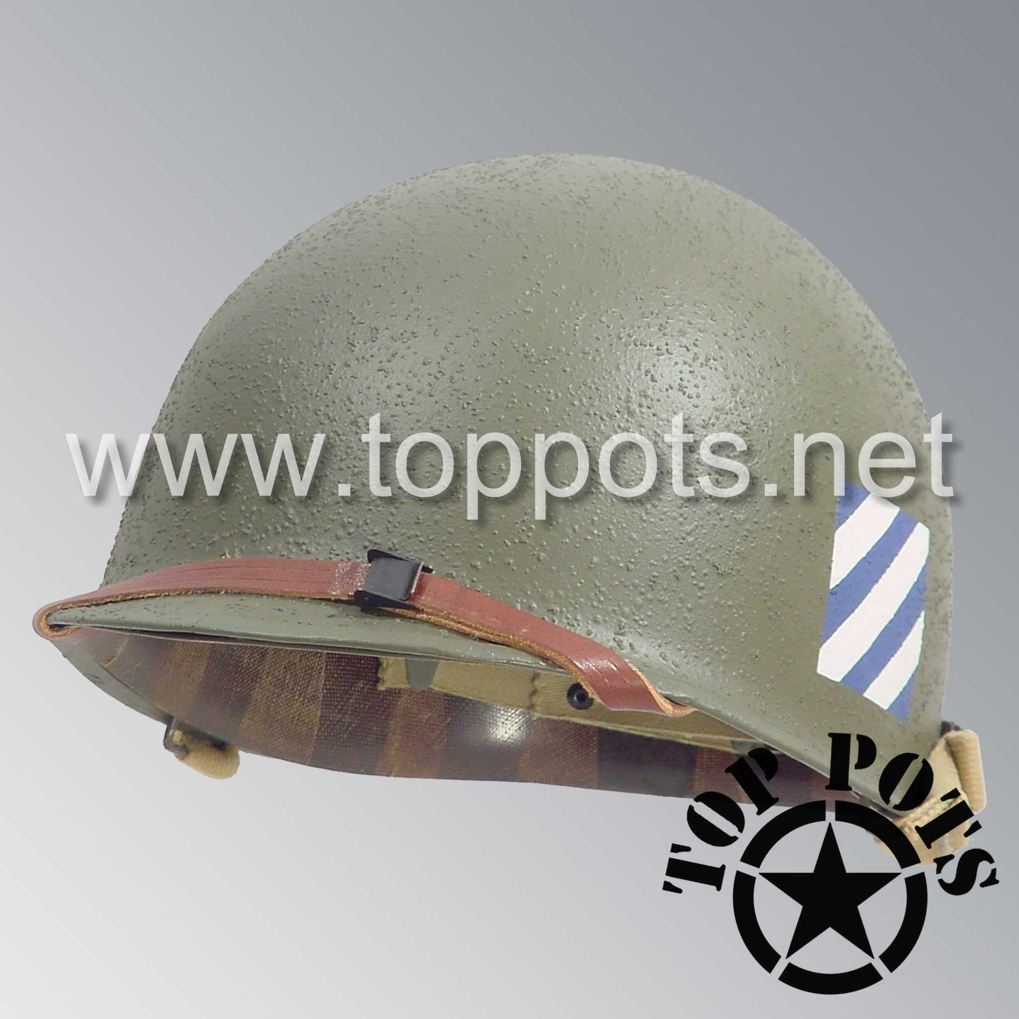 Image 1 of WWII US Army Restored Original M1 Infantry Helmet Swivel Bale Shell and Liner with 3rd Infantry Division Emblem