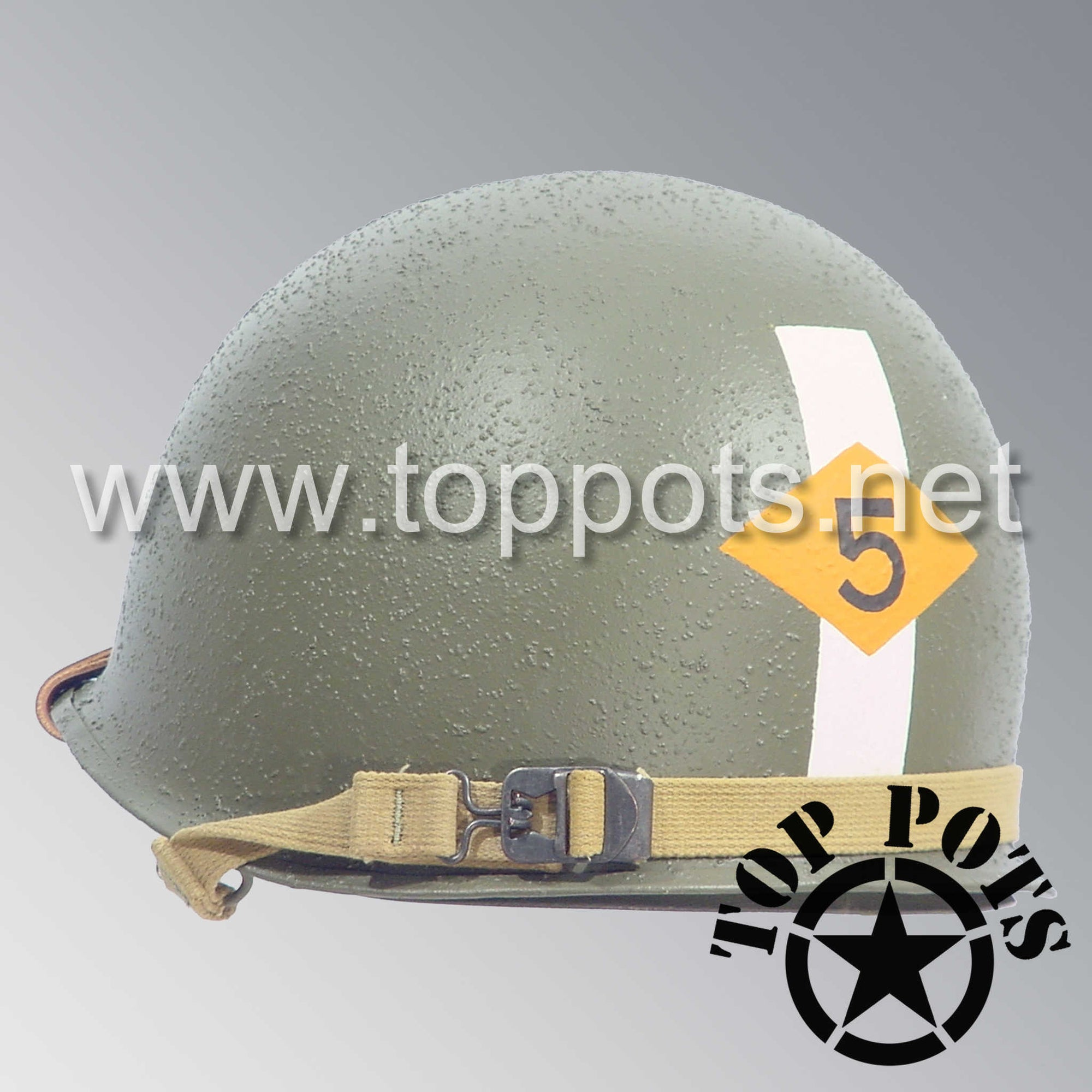 Image 5 of WWII US Army Restored Original M1 Infantry Helmet Swivel Bale Shell and Liner with 5th Ranger Officer Emblem